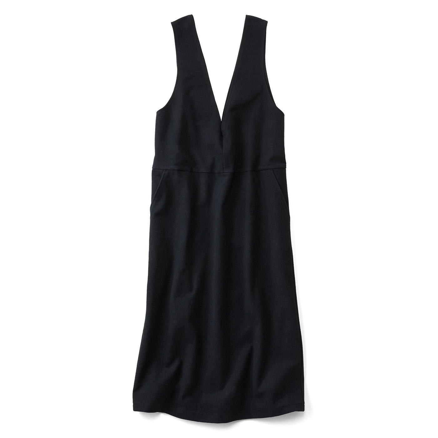 リブ イン コンフォート やわらかカットソーで伸びやかなジャンパースカート〈ブラック〉