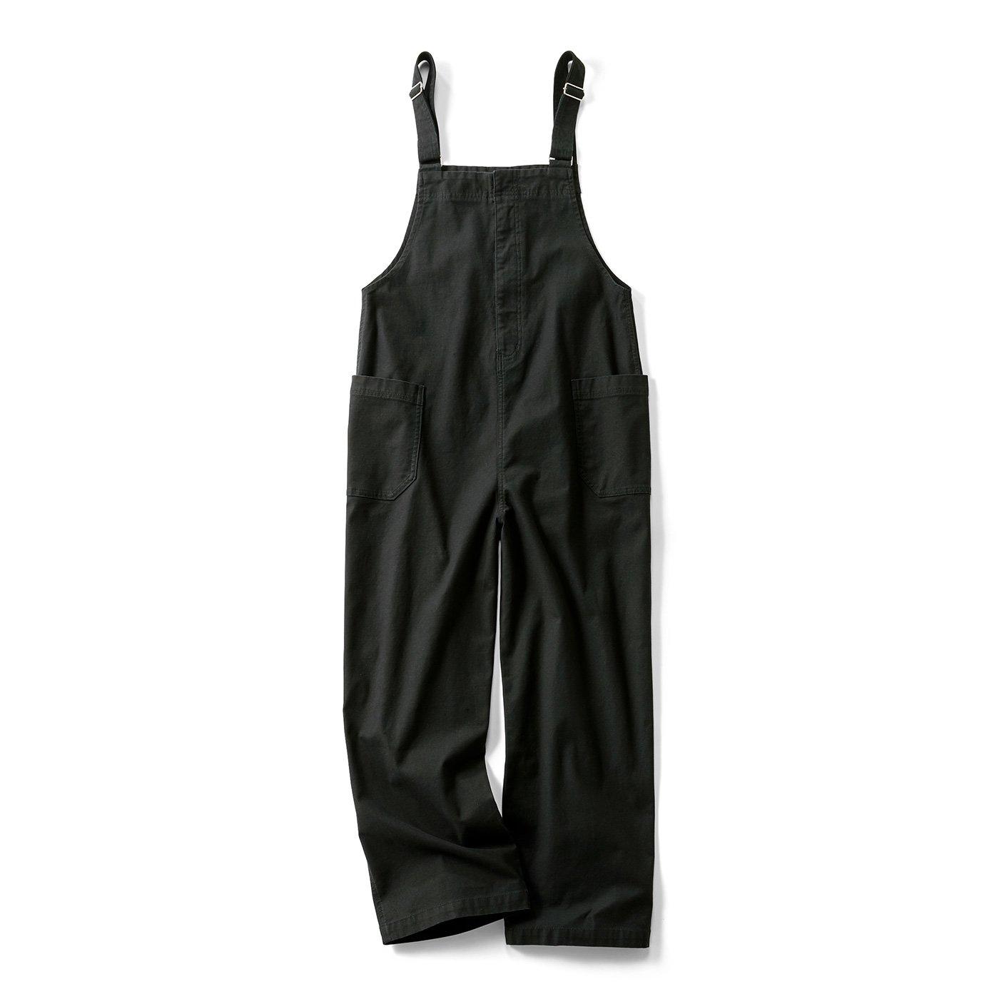 リブ イン コンフォート ワンピース感覚で着られる 大人のカジュアルサロペット〈ブラック〉