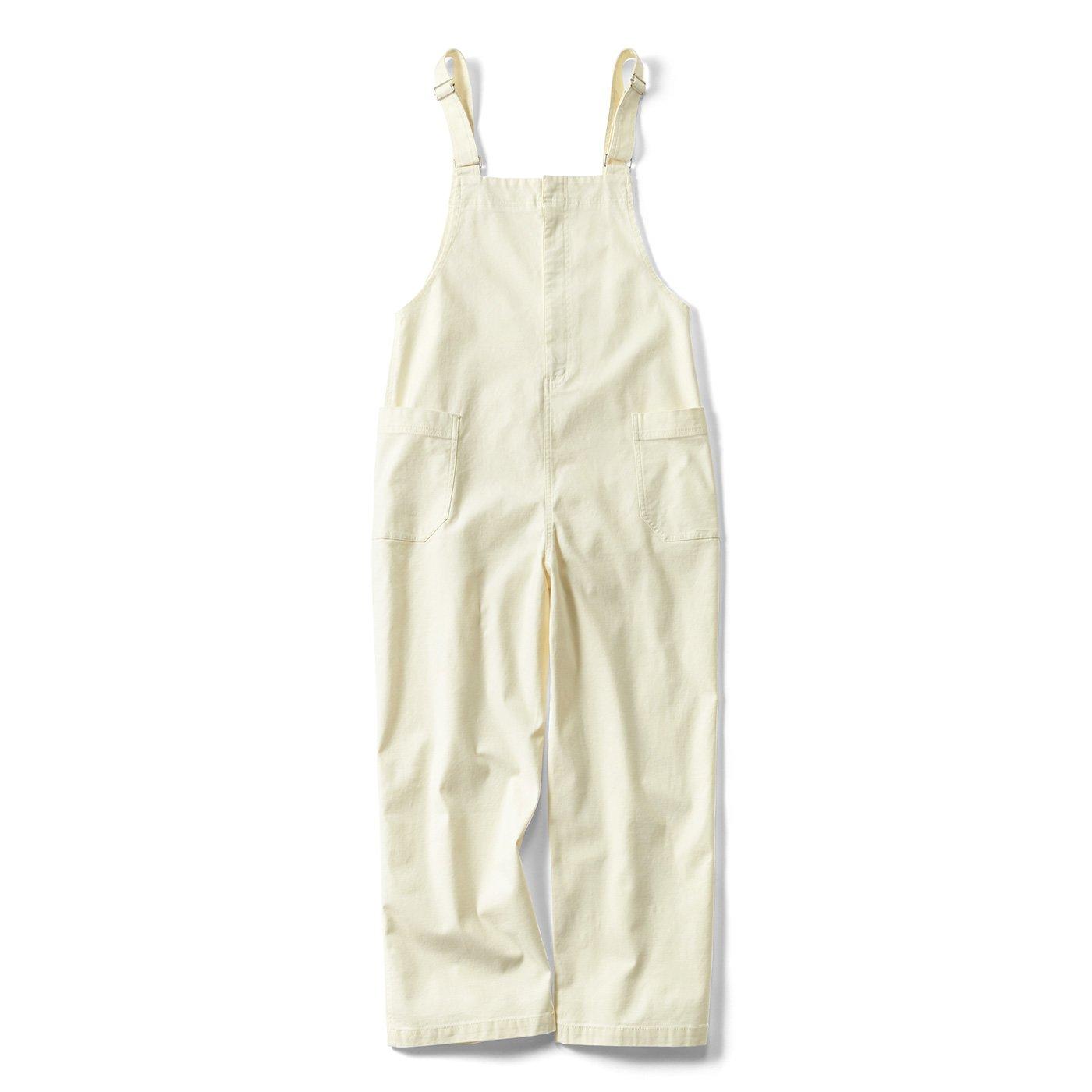 リブ イン コンフォート ワンピース感覚で着られる 大人のカジュアルサロペット〈オフホワイト〉