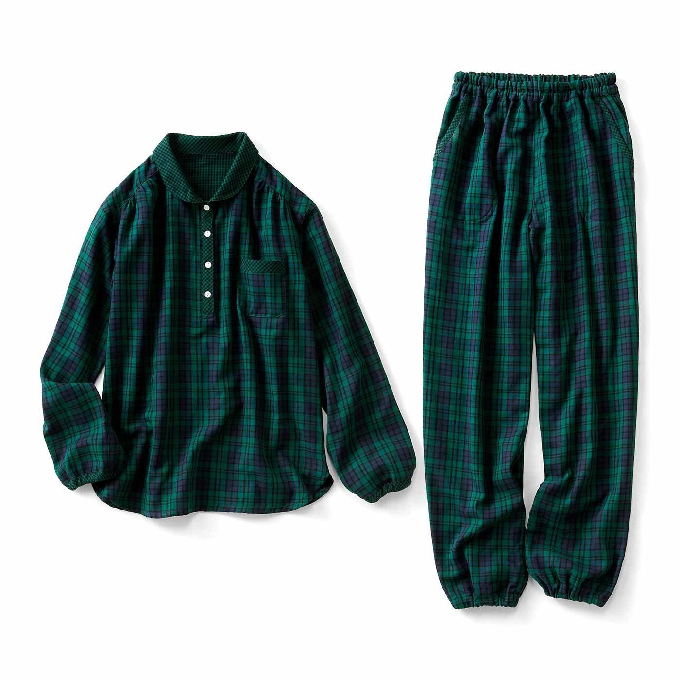 リブ イン コンフォート 一日中着ていたい心地よさ! 衿付きふかふかダブルガーゼ チェックパジャマの会