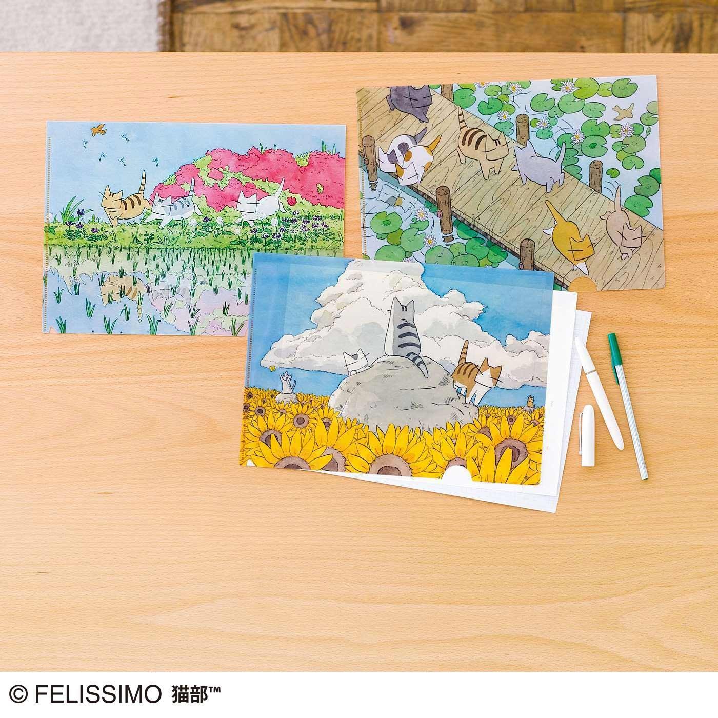 日本画家 久保 智昭さんとつくった 猫とお花の季節のクリアファイルセットの会(期間予約)