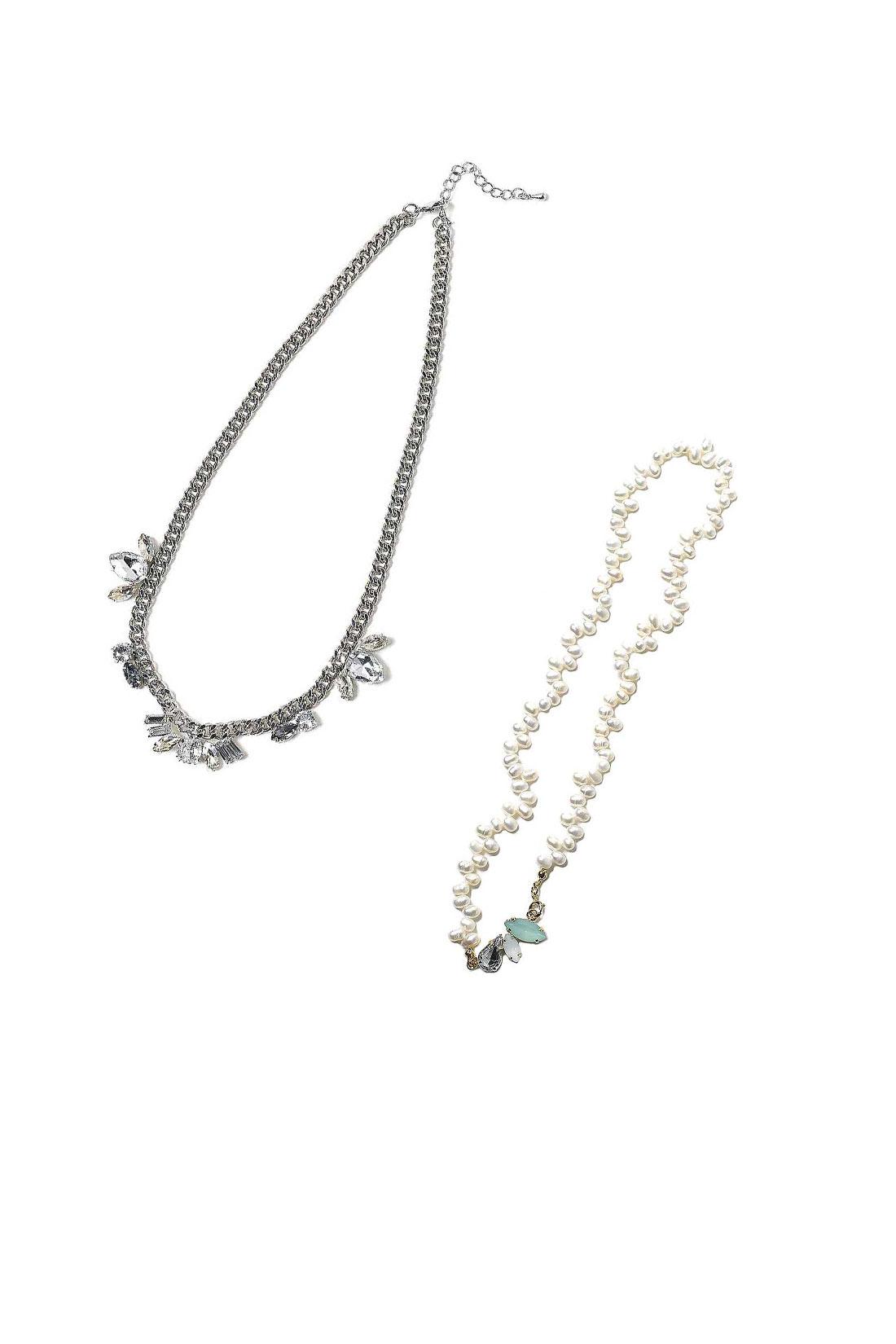 【ビジューネックレス】【淡水パールネックレス】ネックレスはどちらかのデザインをお届けします。