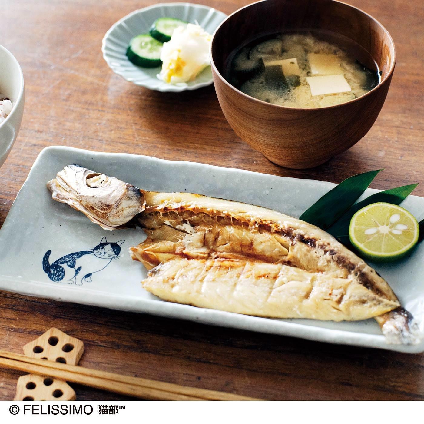 対馬海流で獲れた骨まで食べられる魚と猫柄の美濃焼長角皿  の会