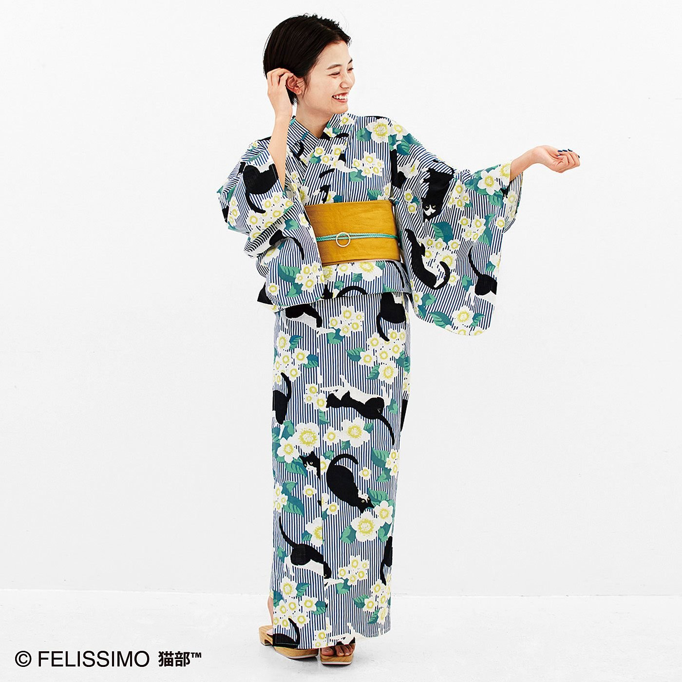 【復刻】ハチワレ猫とまたたびのお花のレトロモダン浴衣