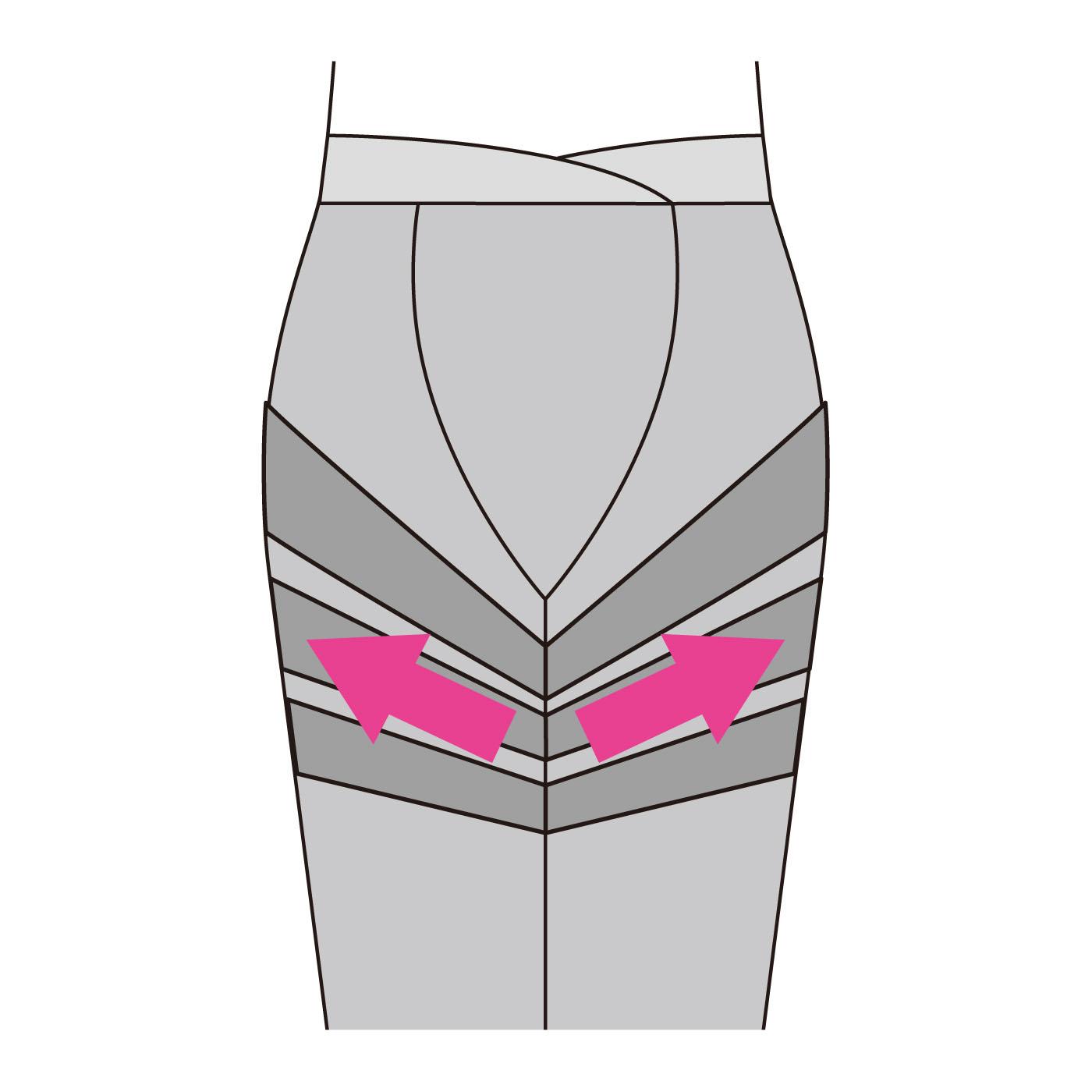 【正面】おなかは締め付けがないのでらくらく。内ももから外側にかけて筋肉の流れに対して逆方向に働きかけるパワーネットを配置。