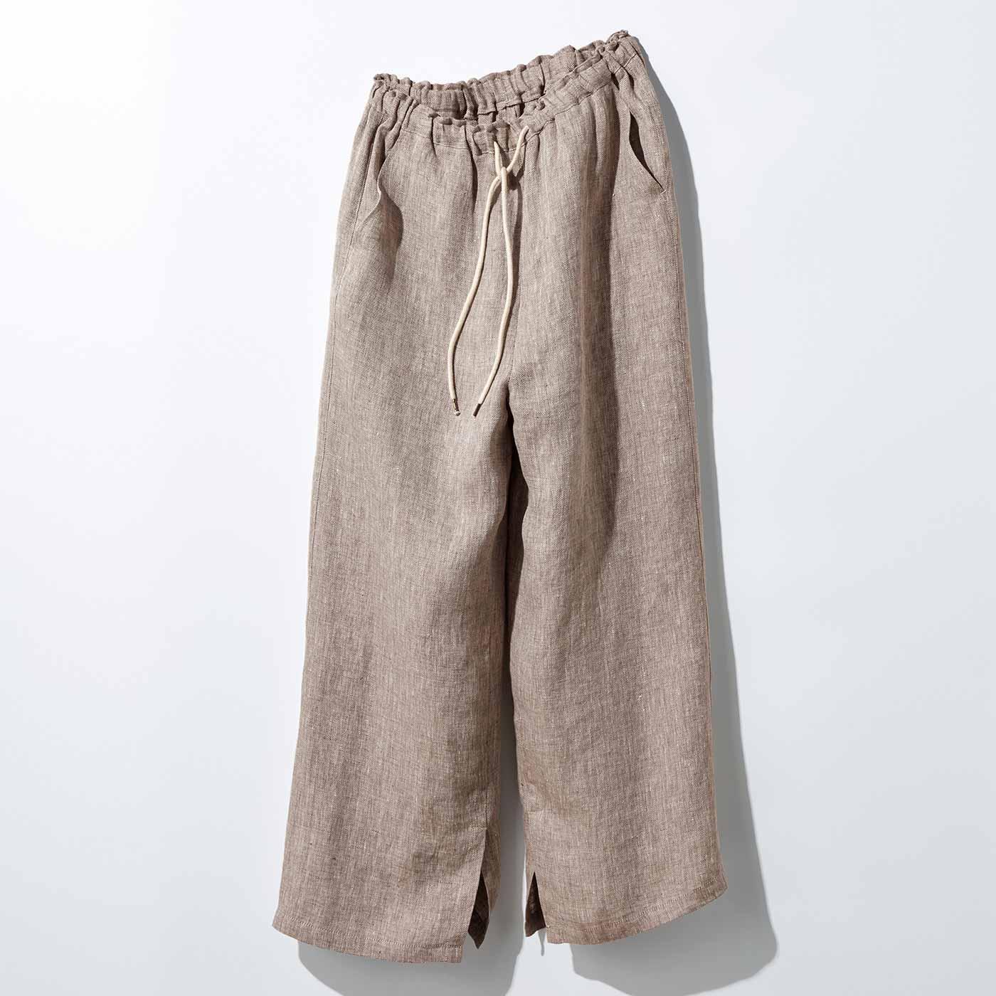 MEDE19F リネン100%のヘリンボーン柄パンツ〈ブラウン〉
