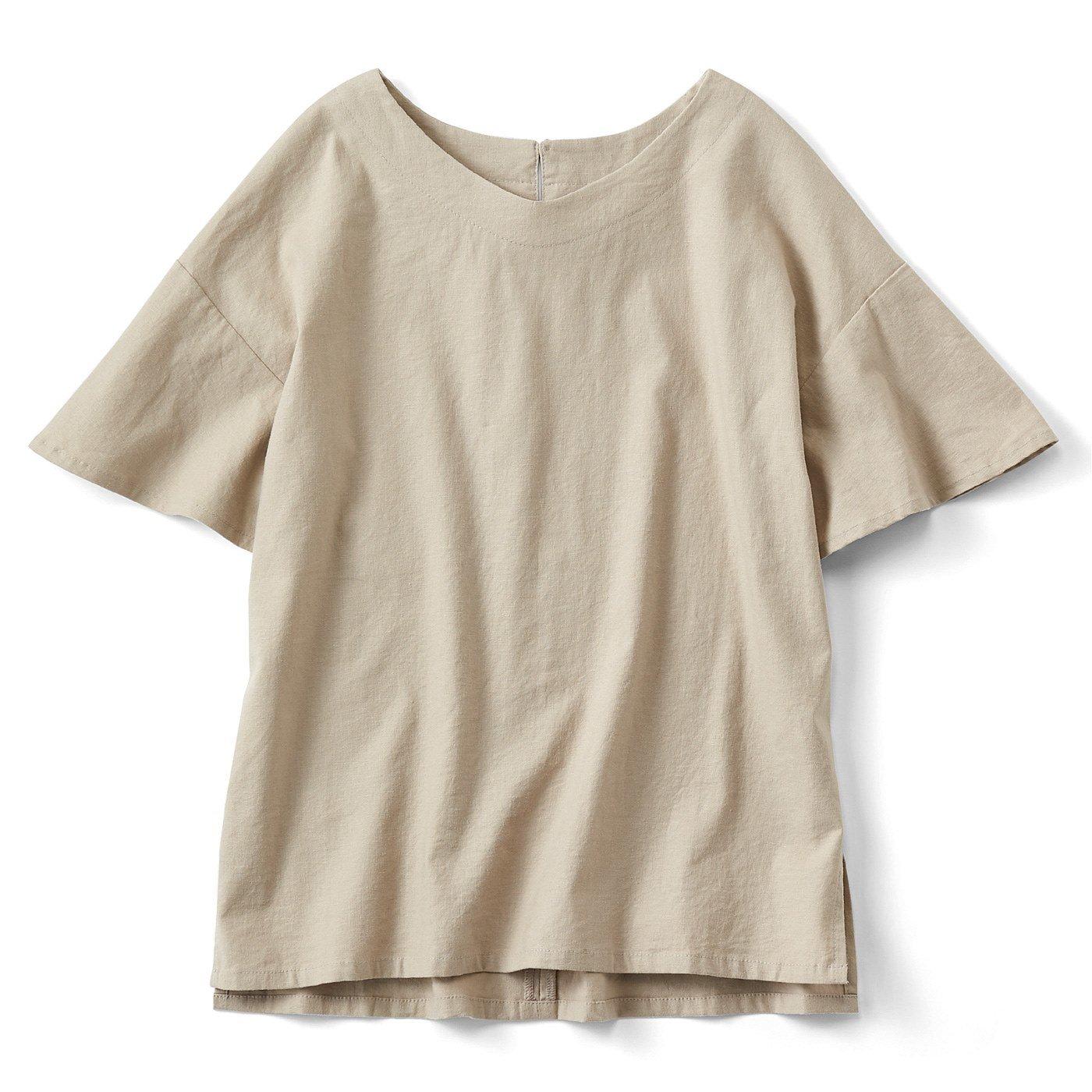 【3~10日でお届け】リブ イン コンフォート 伸びる! さらっと素肌に心地いい 麻混素材の袖フレアートップス〈ベージュ〉
