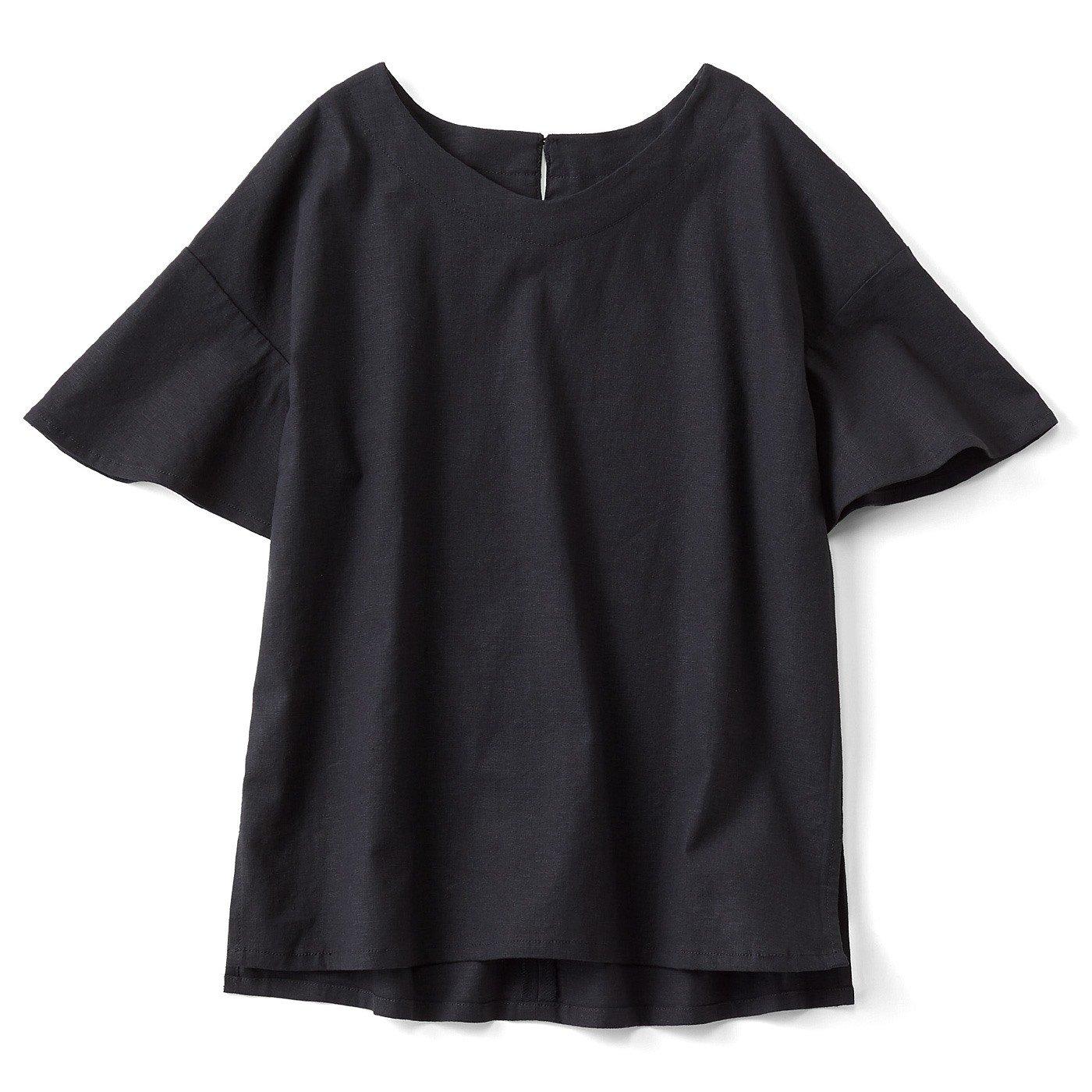 【3~10日でお届け】リブ イン コンフォート 伸びる! さらっと素肌に心地いい 麻混素材の袖フレアートップス〈ブラック〉