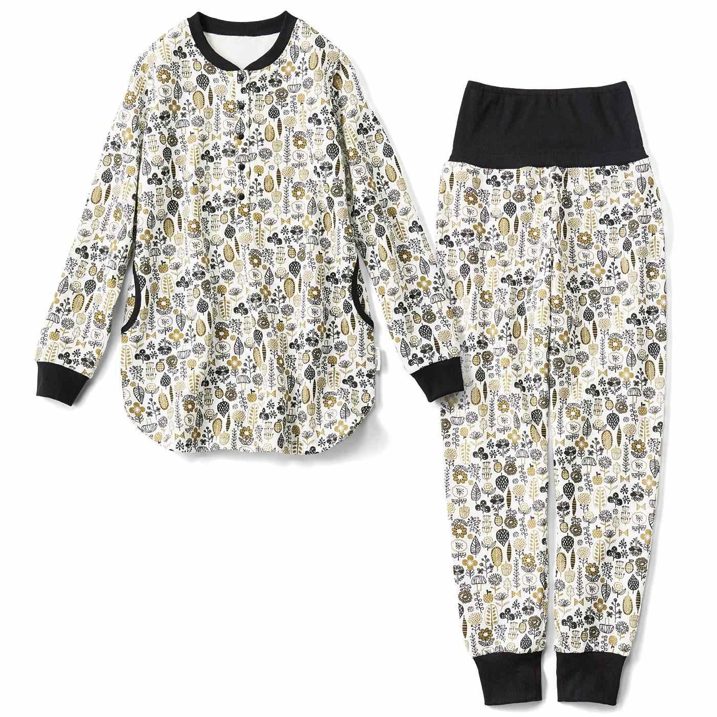 リブ イン コンフォート コットンのやさしい肌ざわり ボタニカル柄キルティングパジャマ