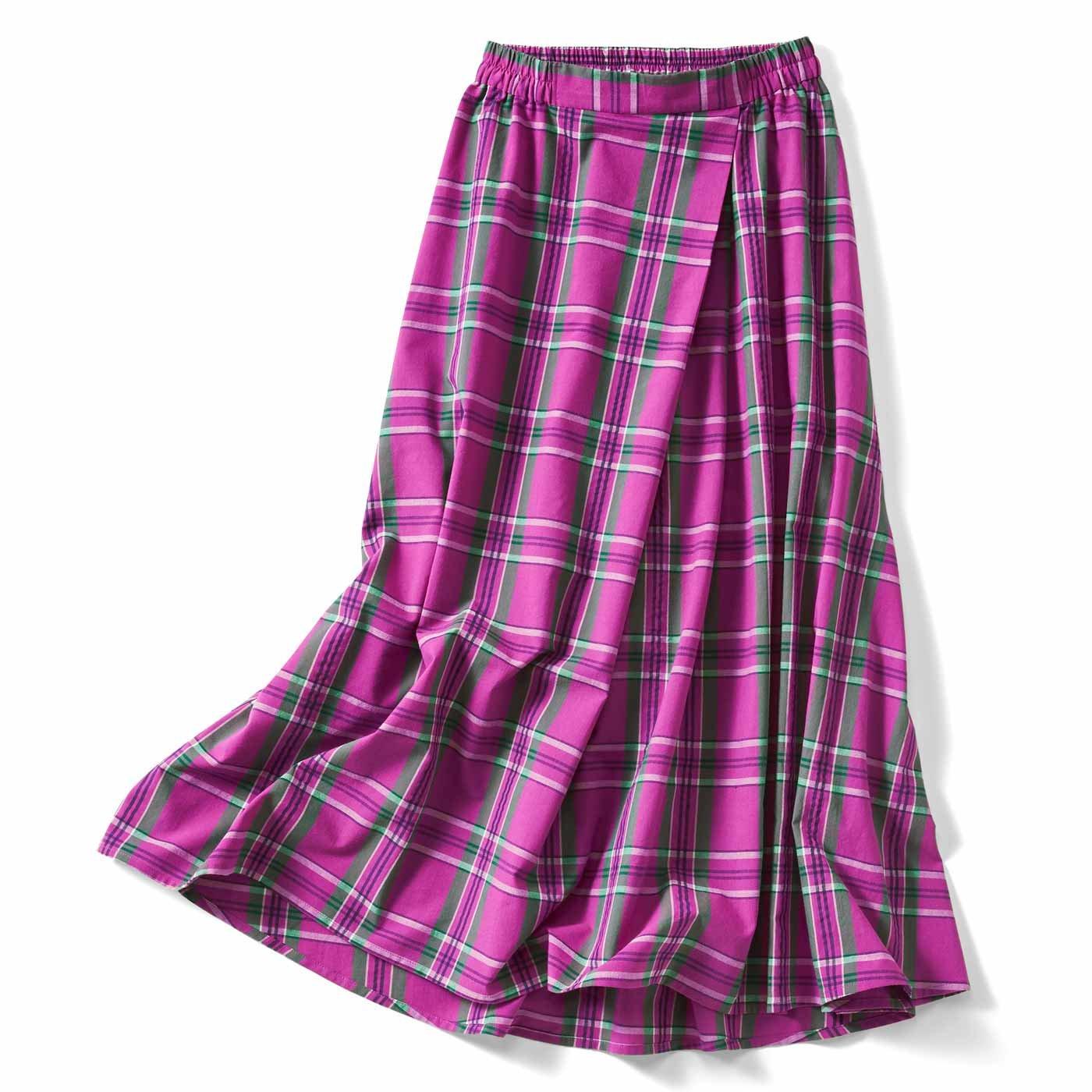 IEDIT[イディット] 大人チェック柄のフレアーロングスカート〈パープルピンク〉