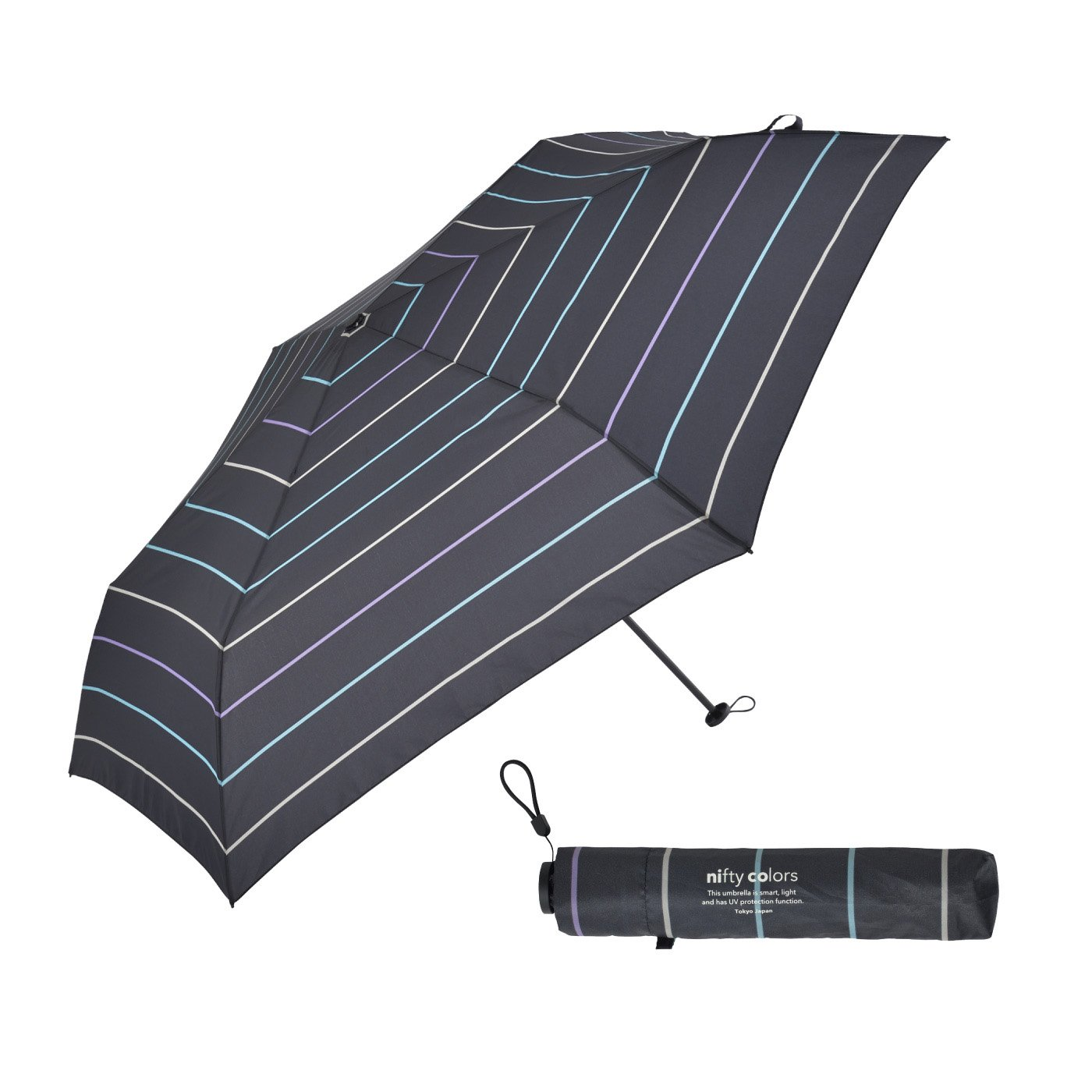 男女兼用 晴雨兼用傘 ボーダー