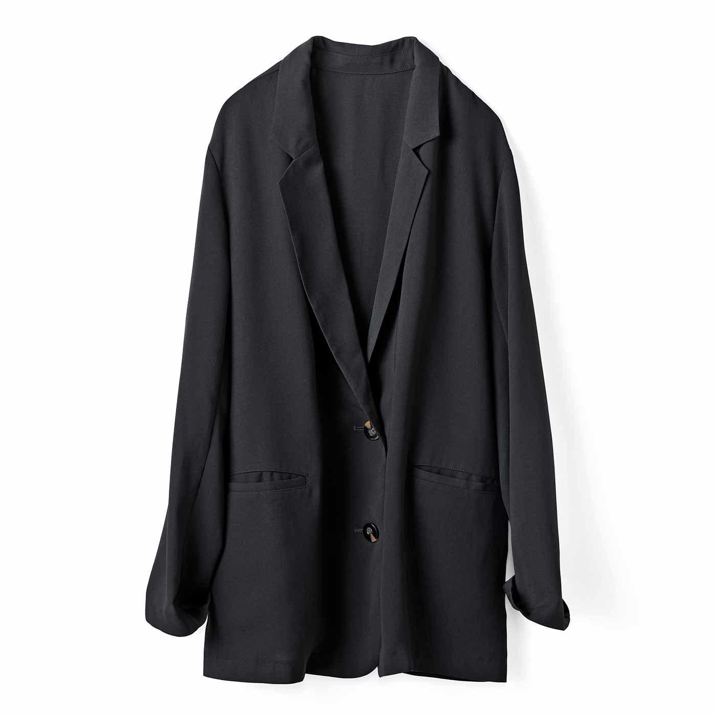 IEDIT[イディット] 接触冷感でサラリと着られる 軽やかジャケット〈ブラック〉