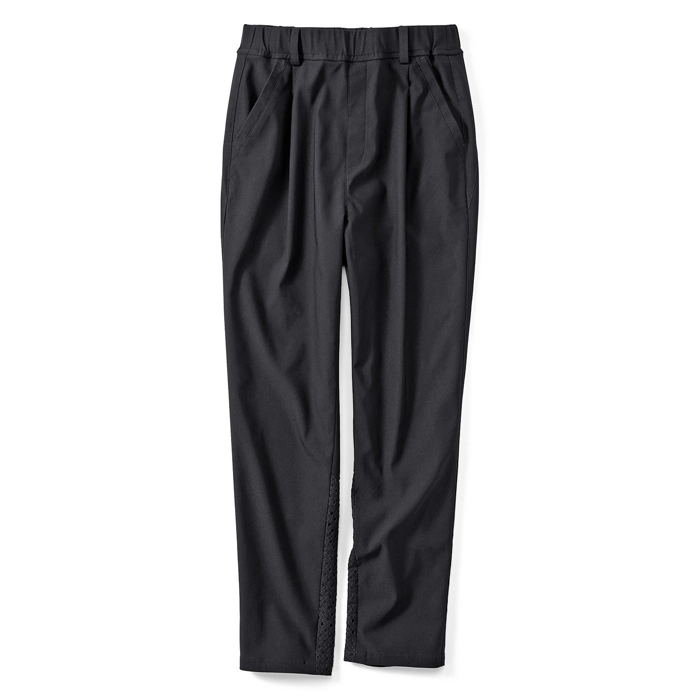 IEDIT[イディット] 歩くたびに空気が通る涼やかパンツ 美脚テーパード〈ブラック〉