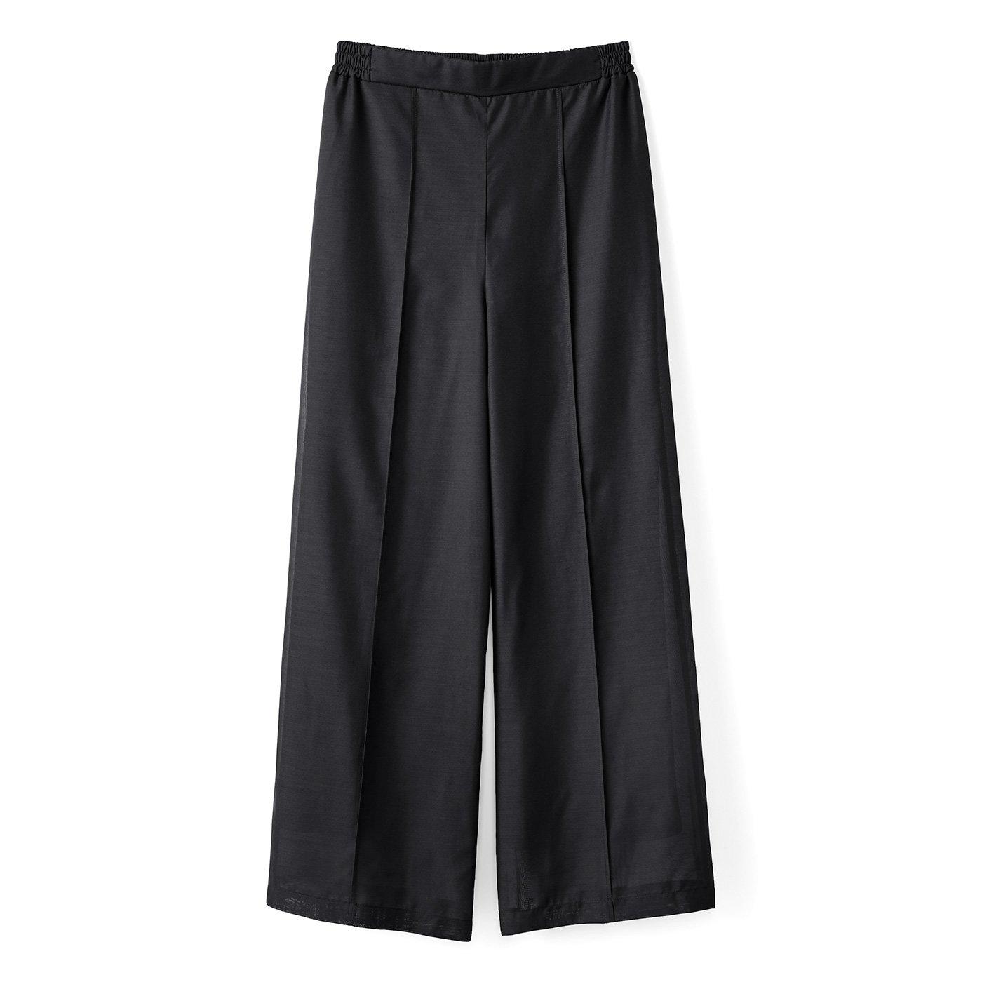 IEDIT[イディット] 奥行きのある女性らしさ漂う シアー素材のきれいめワイドパンツ〈ブラック〉