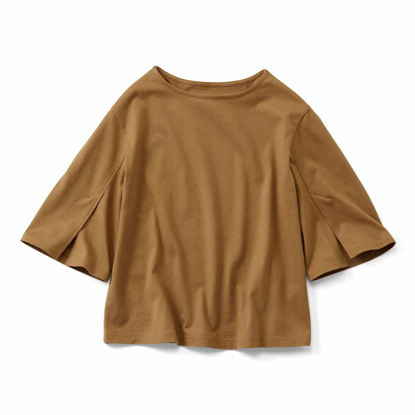 IEDIT[イディット] 消臭機能×コットン100% 袖スリットデザイントップス〈ブラウン〉