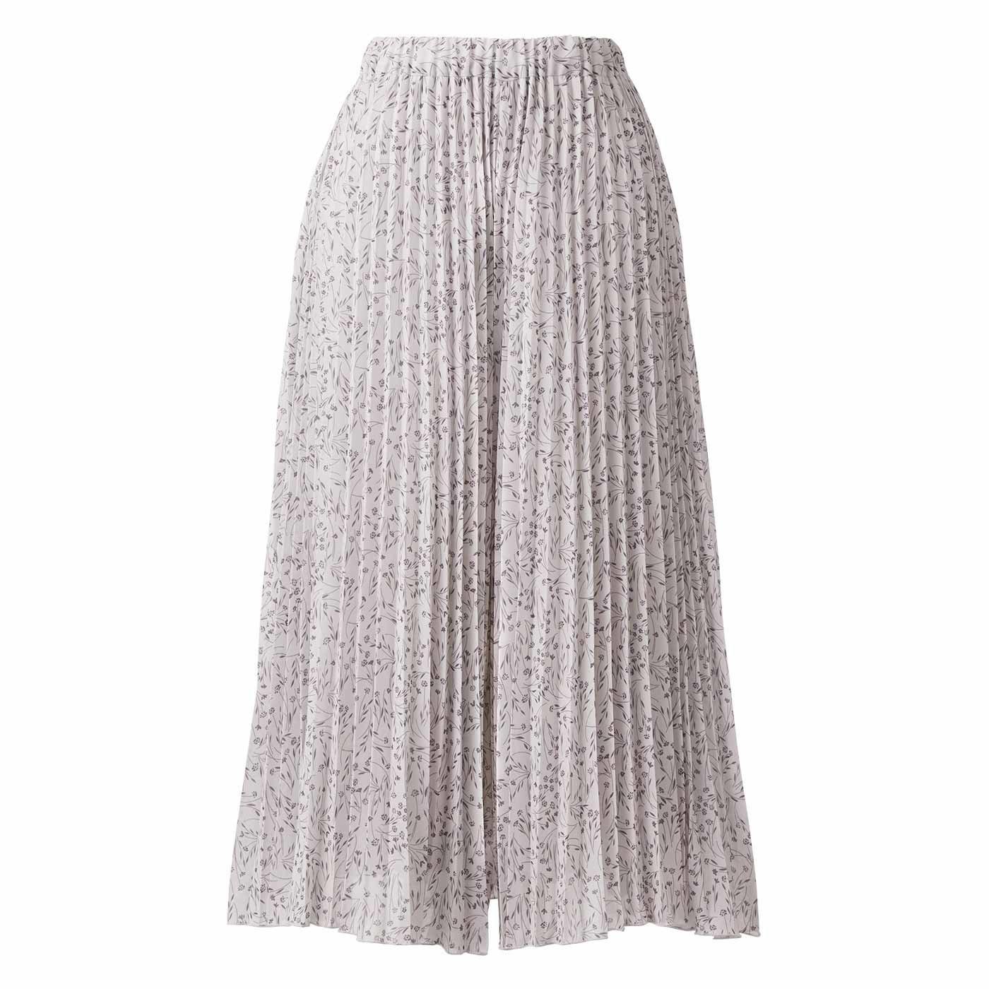 IEDIT[イディット] 吸汗速乾裏地が付いた小柄プリントが上品な プリーツスカート見えパンツ〈ライトグレー〉