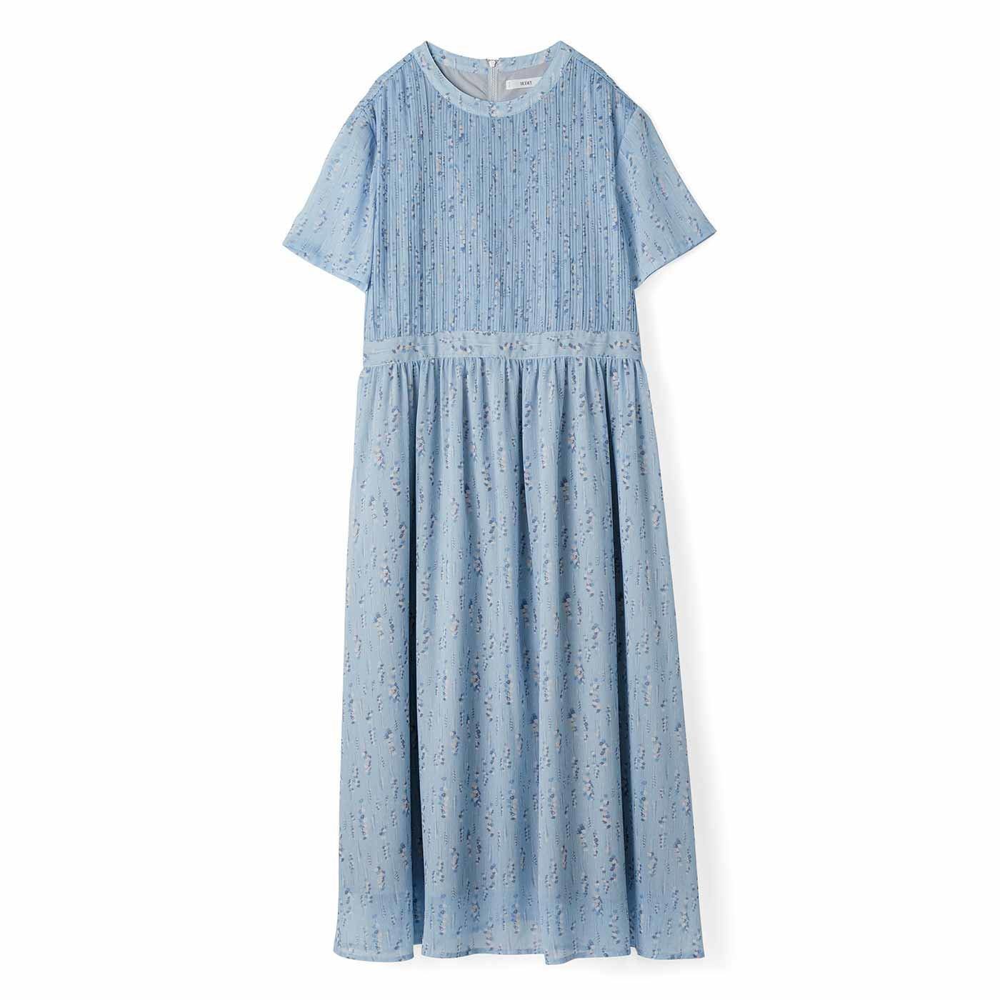IEDIT[イディット] 楊柳(ようりゅう)シフォン素材のフラワープリントロングワンピース〈ブルー〉