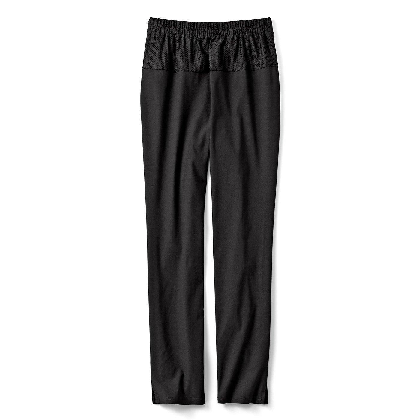 IEDIT[イディット] ウエストメッシュで快適 ストレッチ布はく素材の美脚レギンスパンツ〈ブラック〉