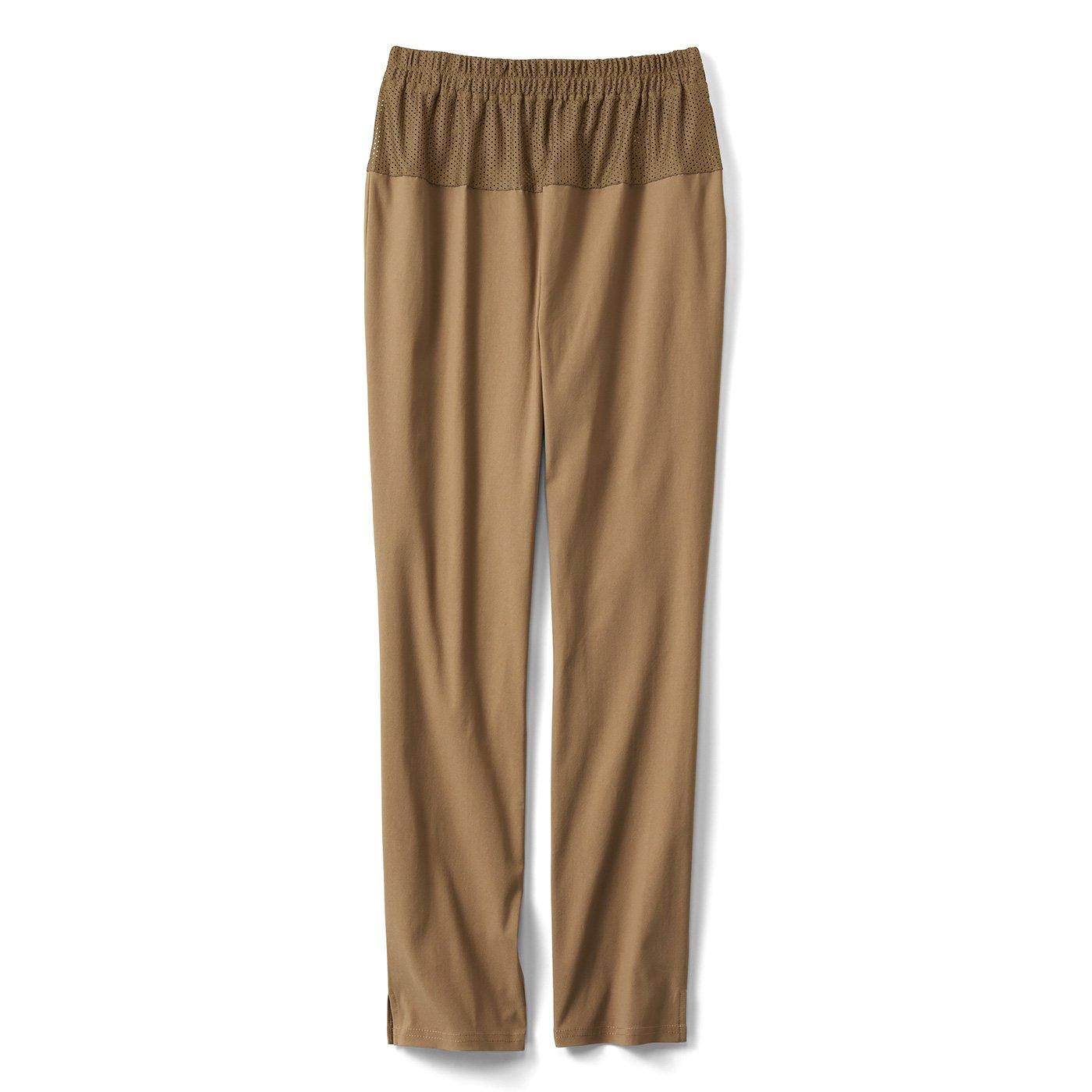 IEDIT[イディット] ウエストメッシュで快適 ストレッチ布はく素材の美脚レギンスパンツ〈ベージュ〉