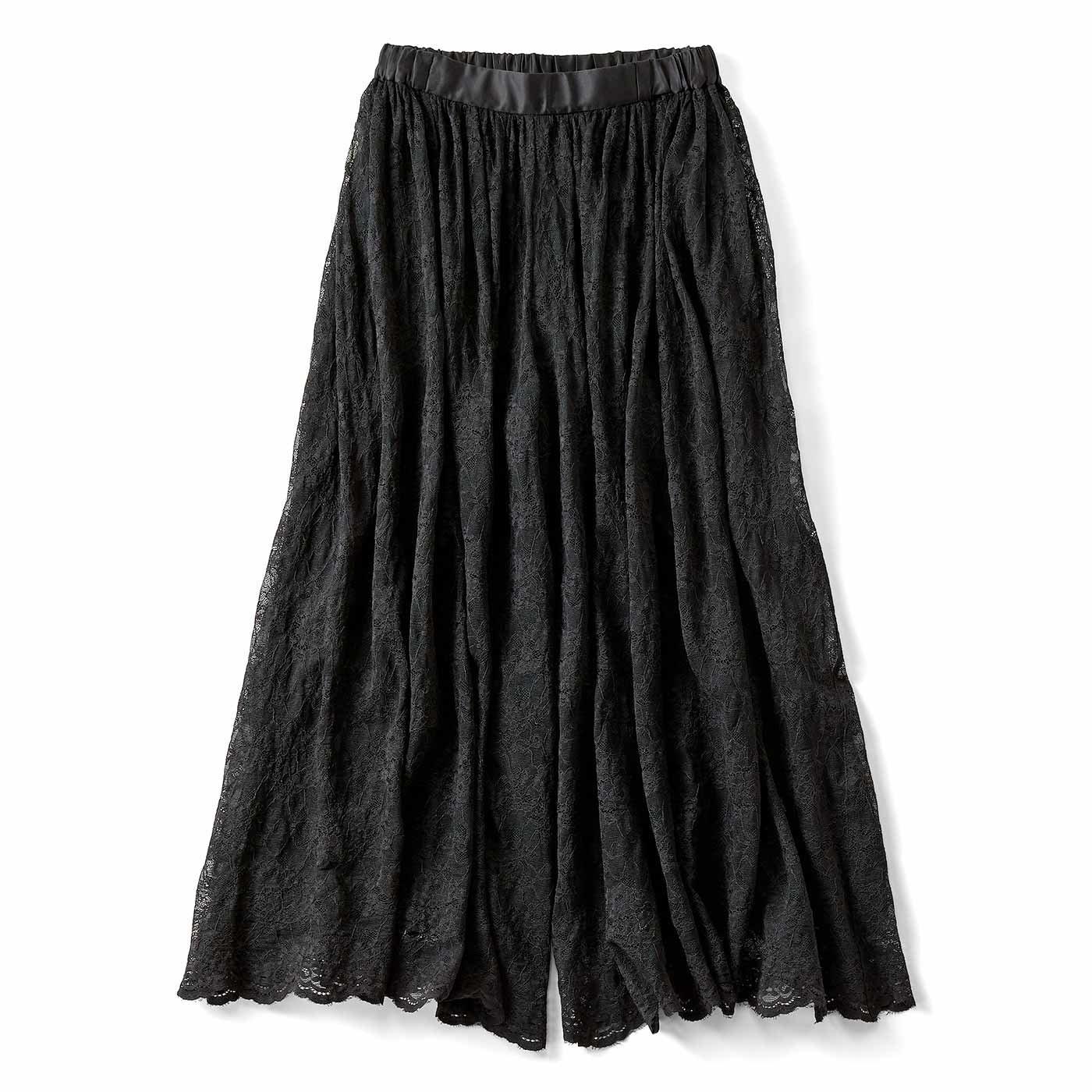 IEDIT[イディット] 吸汗速乾裏地付きのスカート見えシアーレースパンツ〈ブラック〉