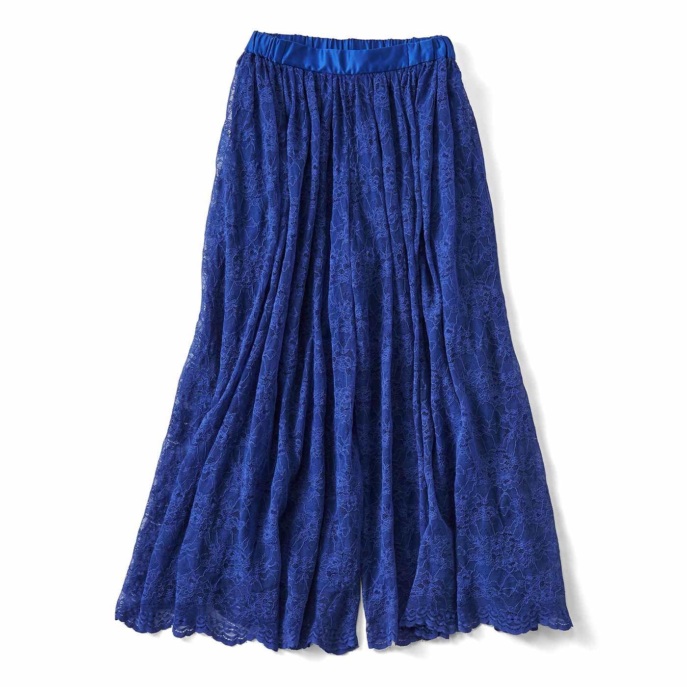 IEDIT[イディット] 吸汗速乾裏地付きのスカート見えシアーレースパンツ〈ロイヤルブルー〉