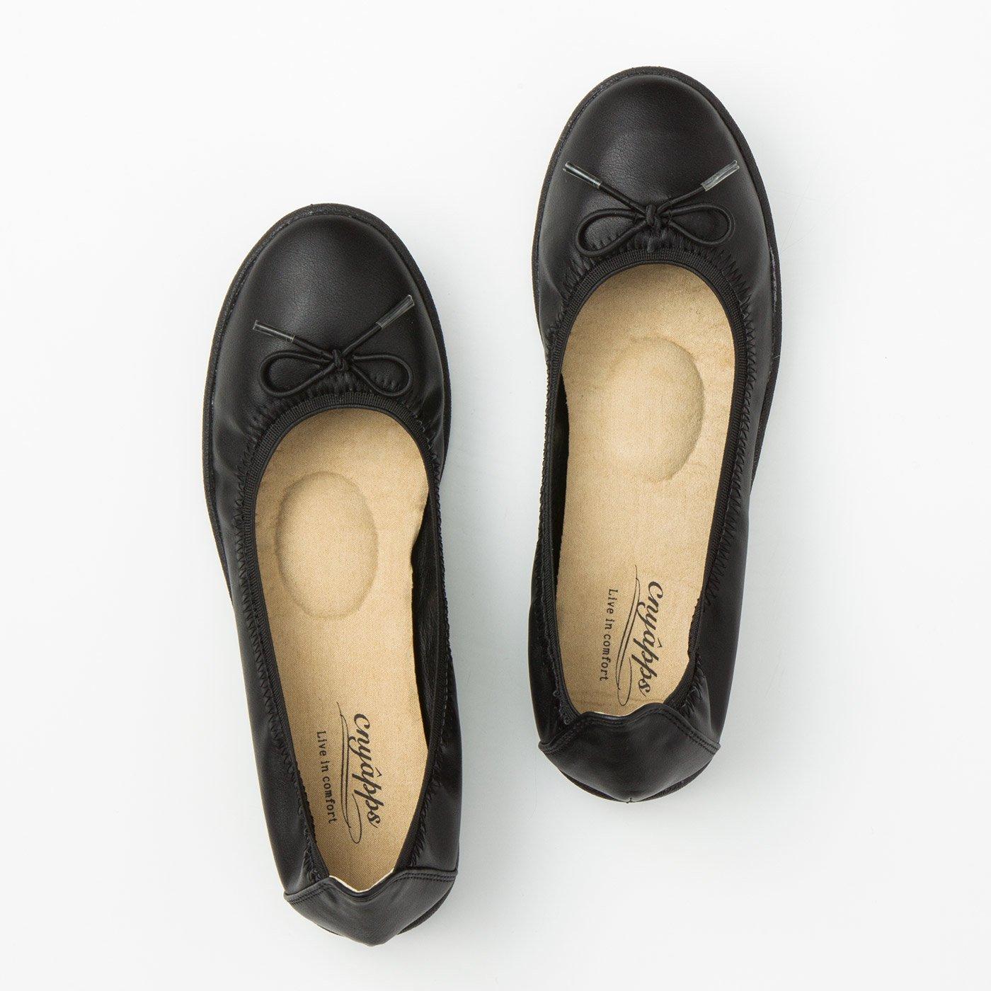 リブ イン コンフォート 包み込まれるような履き心地の 軽やかリボンくにゃっプス(R)〈ブラック〉