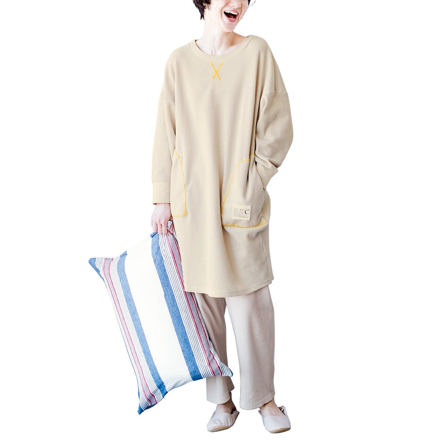体形カバーでくつろぎ度満点!寒暖差対策もかなう綿ワッフルチュニックワンピパジャマの会