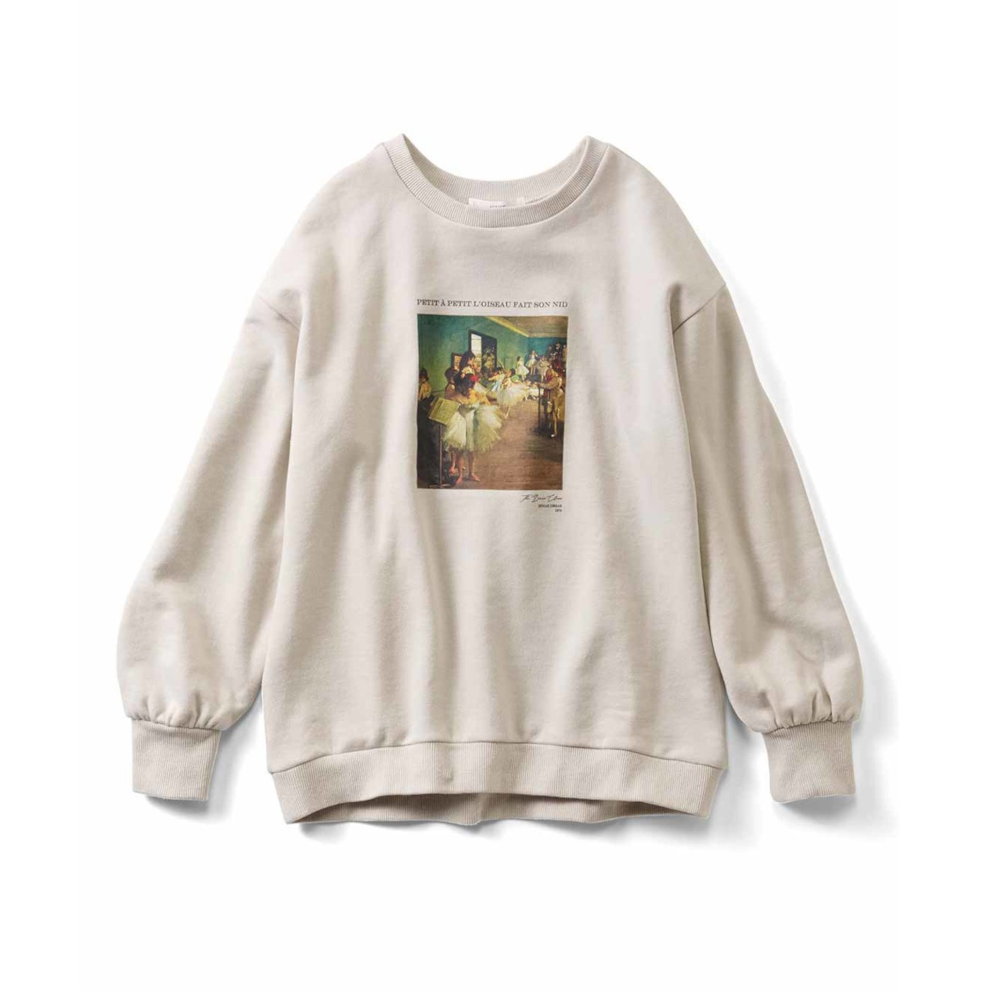 IEDIT[イディット] 印象派のアートをまとう パフスリーブ裏毛トップス〈エドガー・ドガ「ダンス教室」(グレージュ)〉