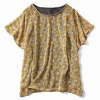 フェリシモ リブ イン コンフォート Tシャツ感覚で着られる ひらり花柄シフォントップス〈イエローxグレー〉