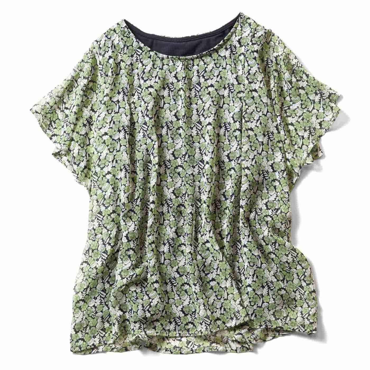 リブ イン コンフォート Tシャツ感覚で着られる ひらり花柄シフォントップス〈グリーン×ネイビー〉