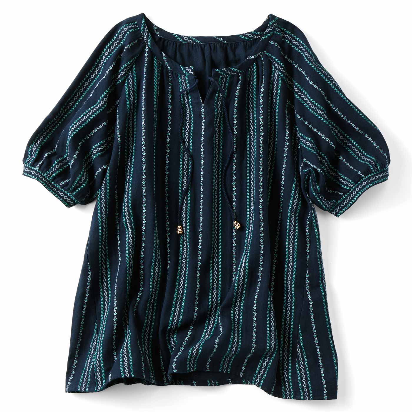 フェリシモ リブ イン コンフォート ダブルガーゼが心地いい 刺繍みたいなプリントプルオーバー〈ネイビー〉