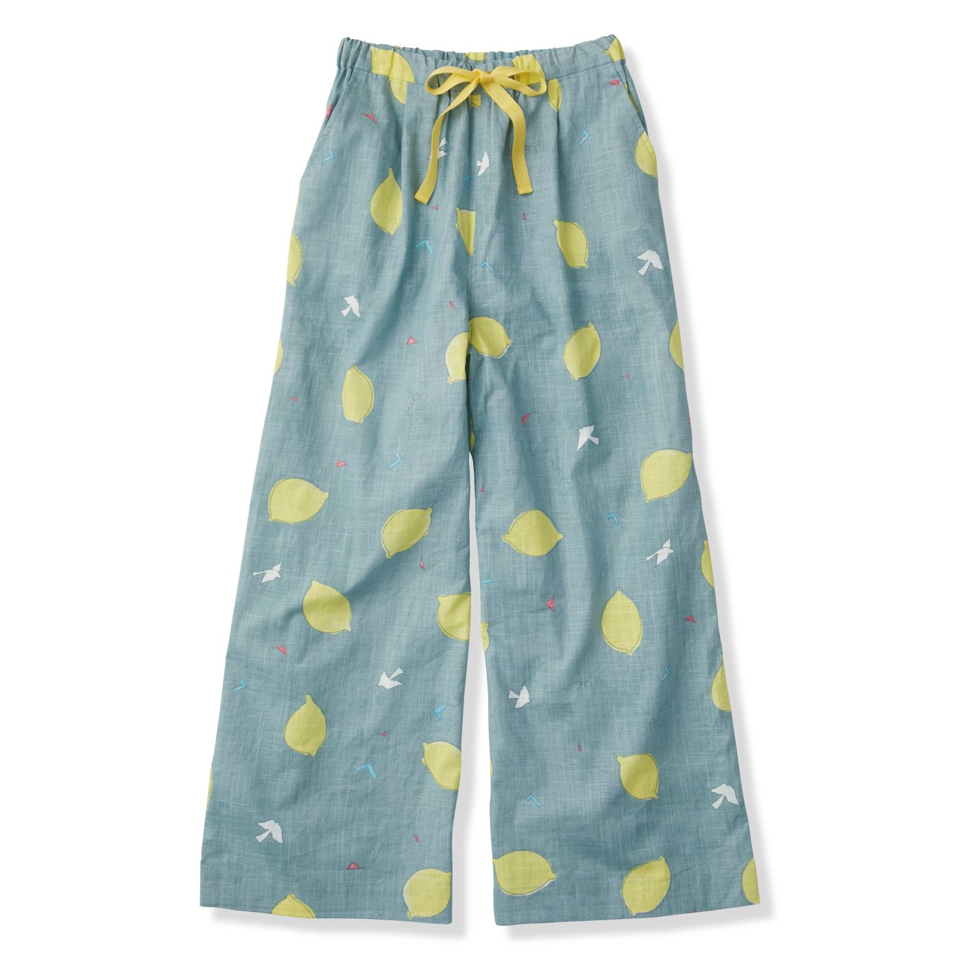 【3~10日でお届け】京都Subikiawa食器店さんとつくった レトロなレモン柄のガウチョパンツ〈レディース〉