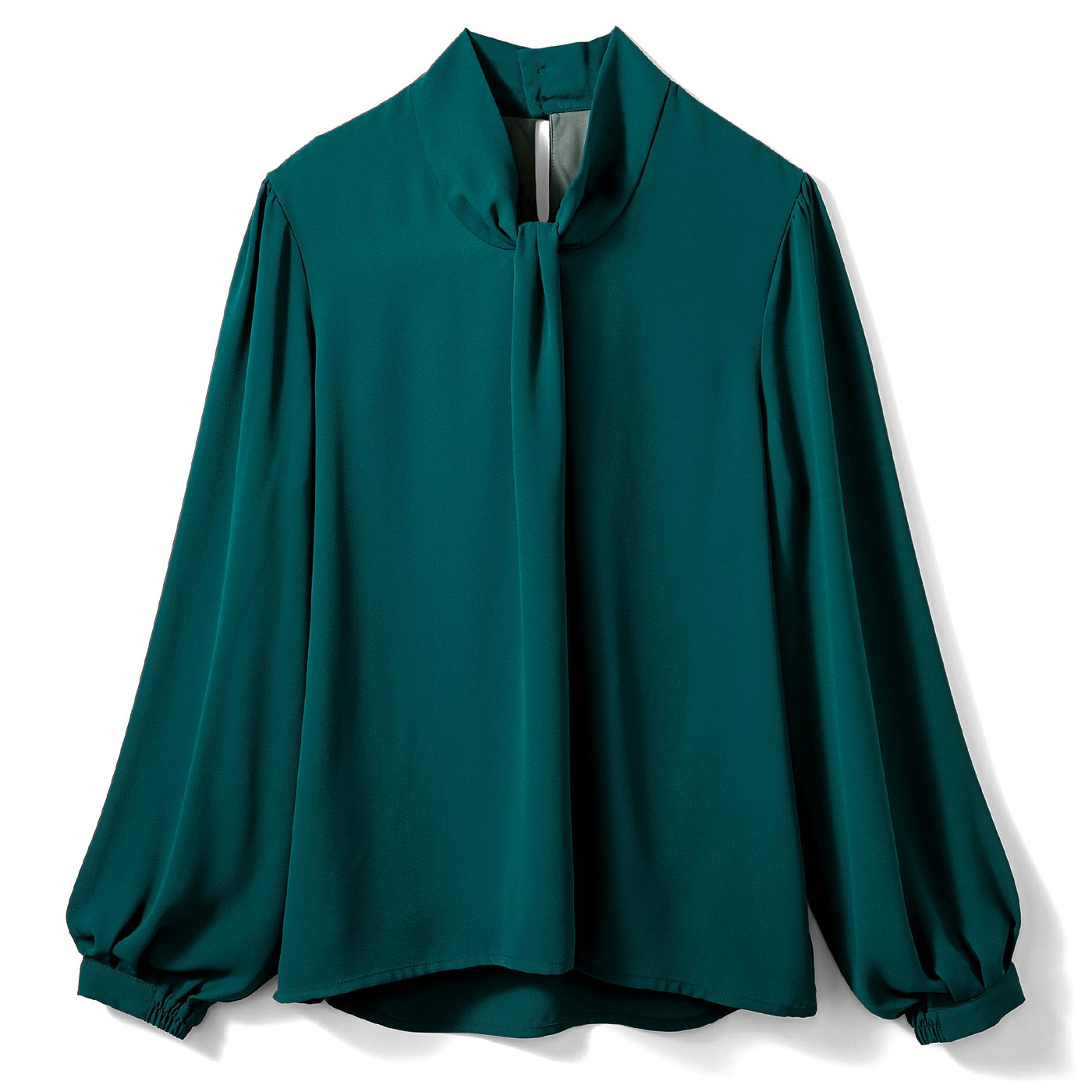 【3~10日でお届け】IEDIT[イディット] 結ぶ手間いらず! Tシャツ心地で快適なボウタイ風ドッキングTブラウス〈フォレストグリーン〉