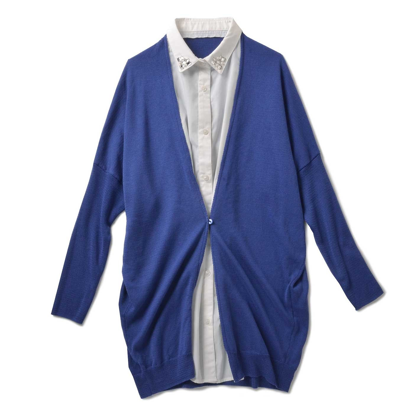 リブ イン コンフォート 衿キラキラシャツと着やせニットのドッキングチュニック〈ブルー×ホワイト〉