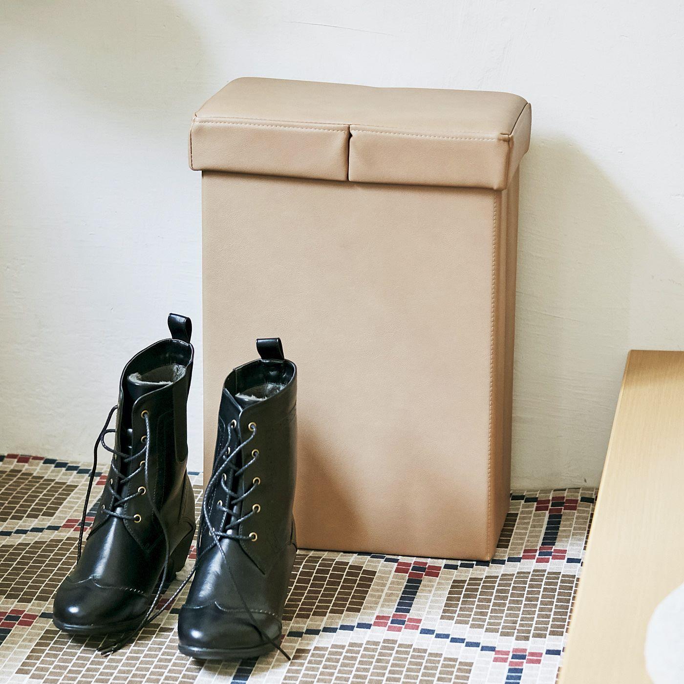 フェリシモ 片手で開けられる スリムなスツールボックス〈アースカラー〉の会