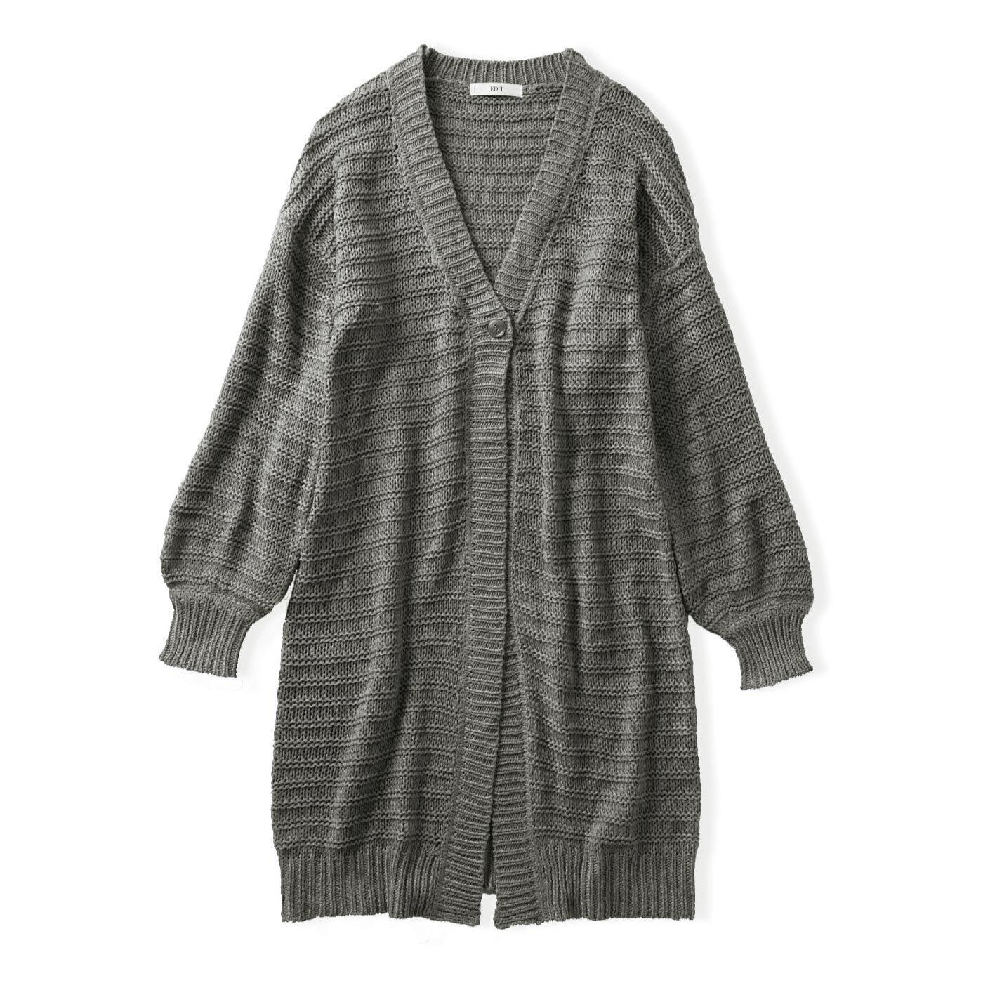 IEDIT[イディット] リリヤーン糸のガーター編みでメリハリが効いた ざっくりロングニットカーディガン〈グレー〉