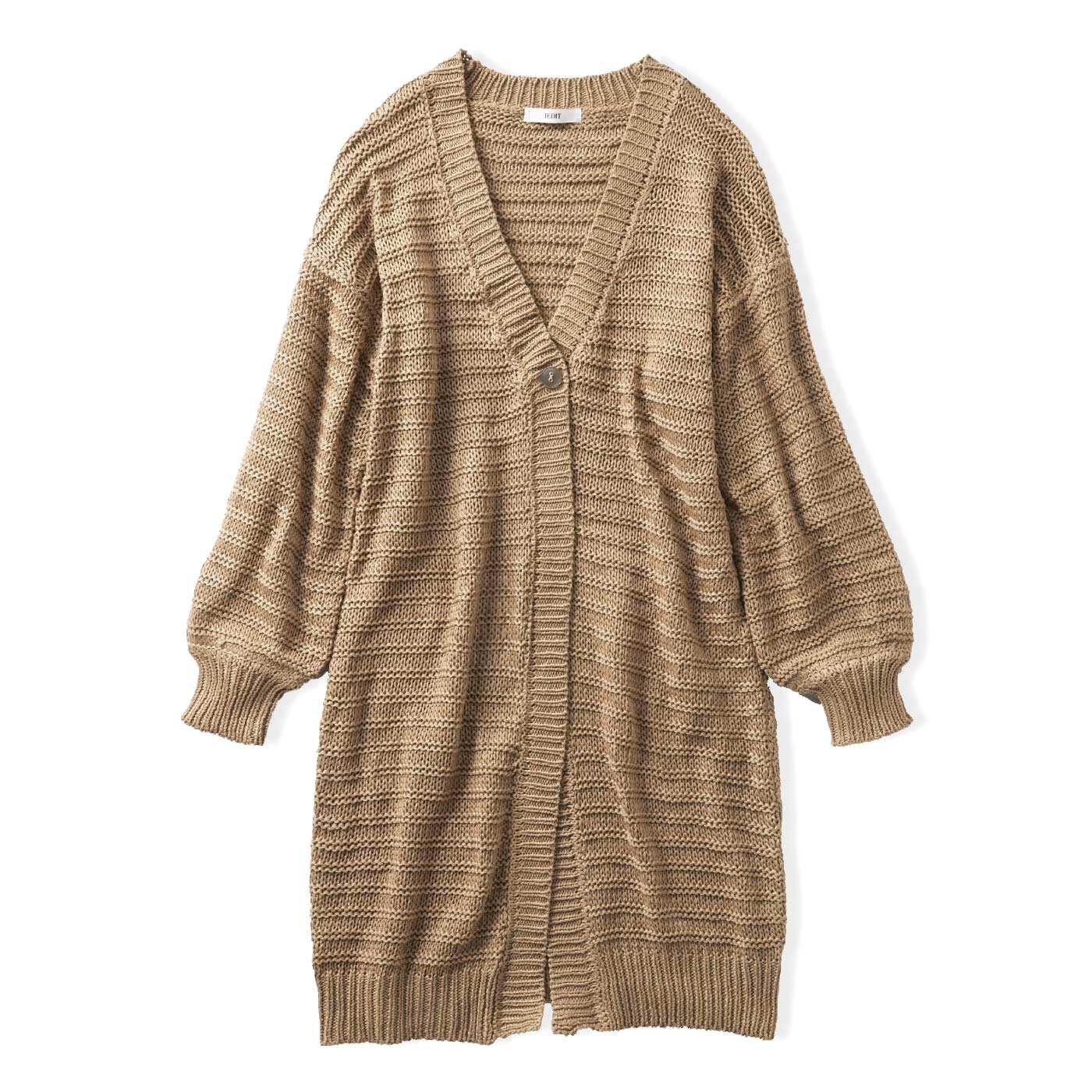 IEDIT[イディット] リリヤーン糸のガーター編みでメリハリが効いた ざっくりロングニットカーディガン〈キャメルベージュ〉