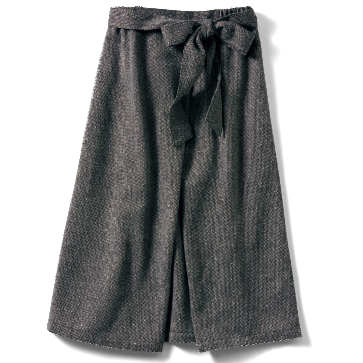IEDIT[イディット] 巻きスカート風 ミモレ丈のツイードスカート〈ブラック〉