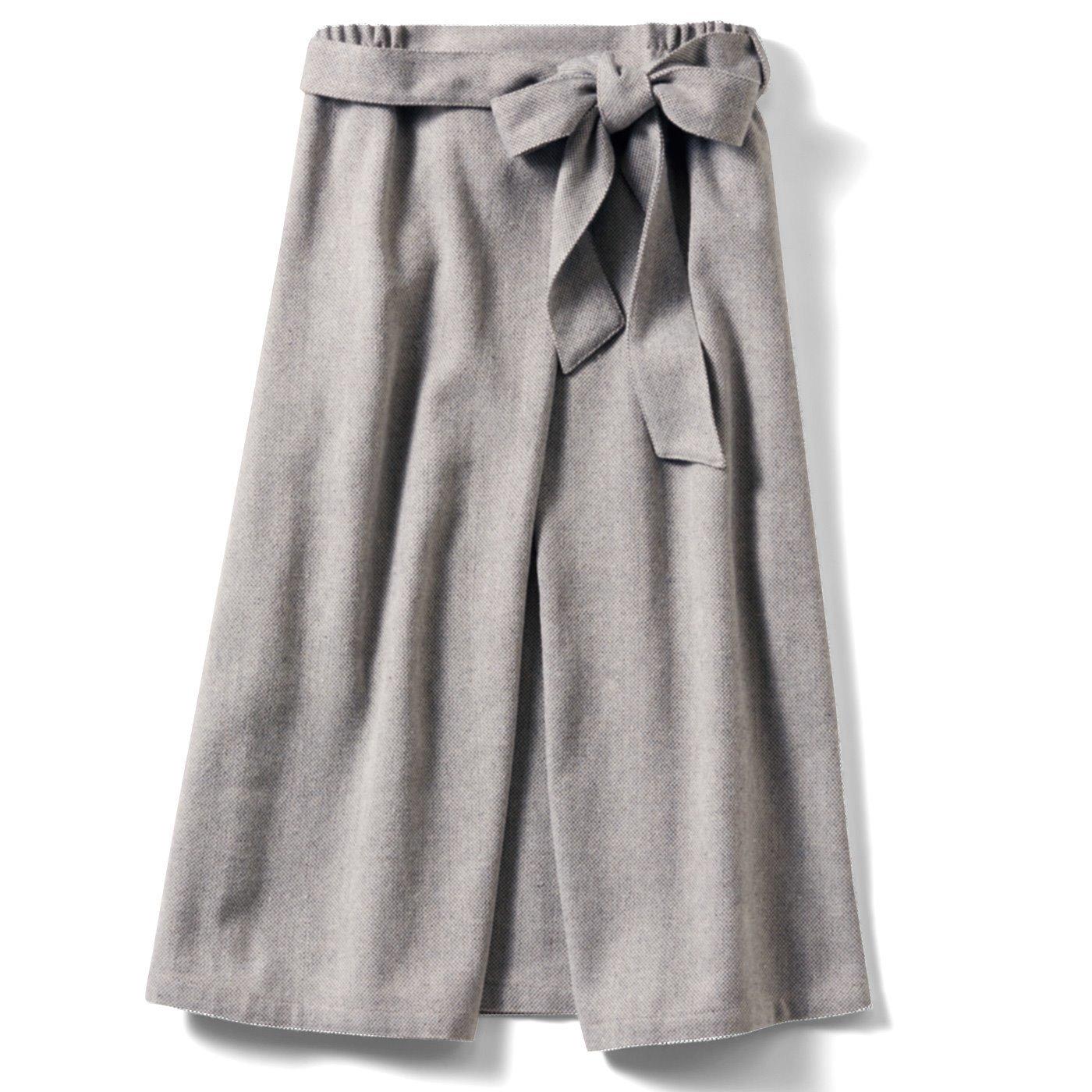 IEDIT[イディット] 巻きスカート風 ミモレ丈のツイードスカート〈グレー〉