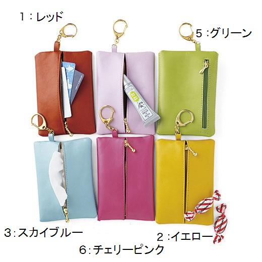 リュクスな表情の牛革×ゴールドカラー。常備薬やコスメ、カード、ティッシュなど、バッグの中のこまごましたものをコンパクトに収納。