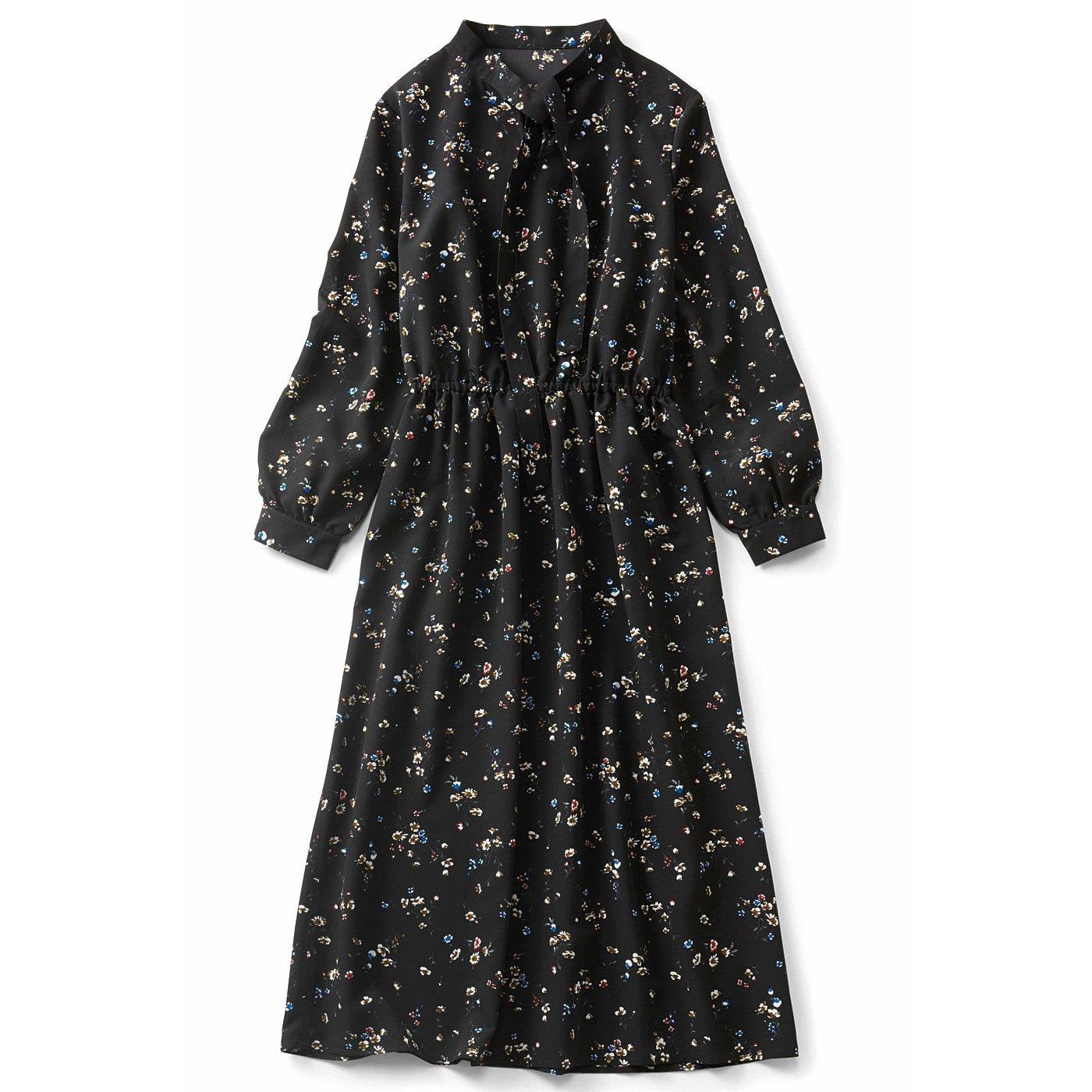 IEDIT[イディット] ボウタイ衿のフラワープリントワンピース〈ブラック〉
