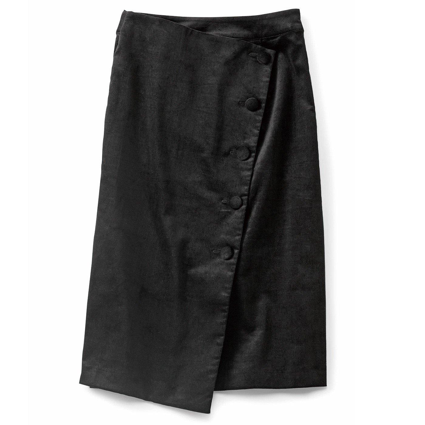 IEDIT[イディット] ラップ風コーデュロイⅠラインスカート〈ブラック〉