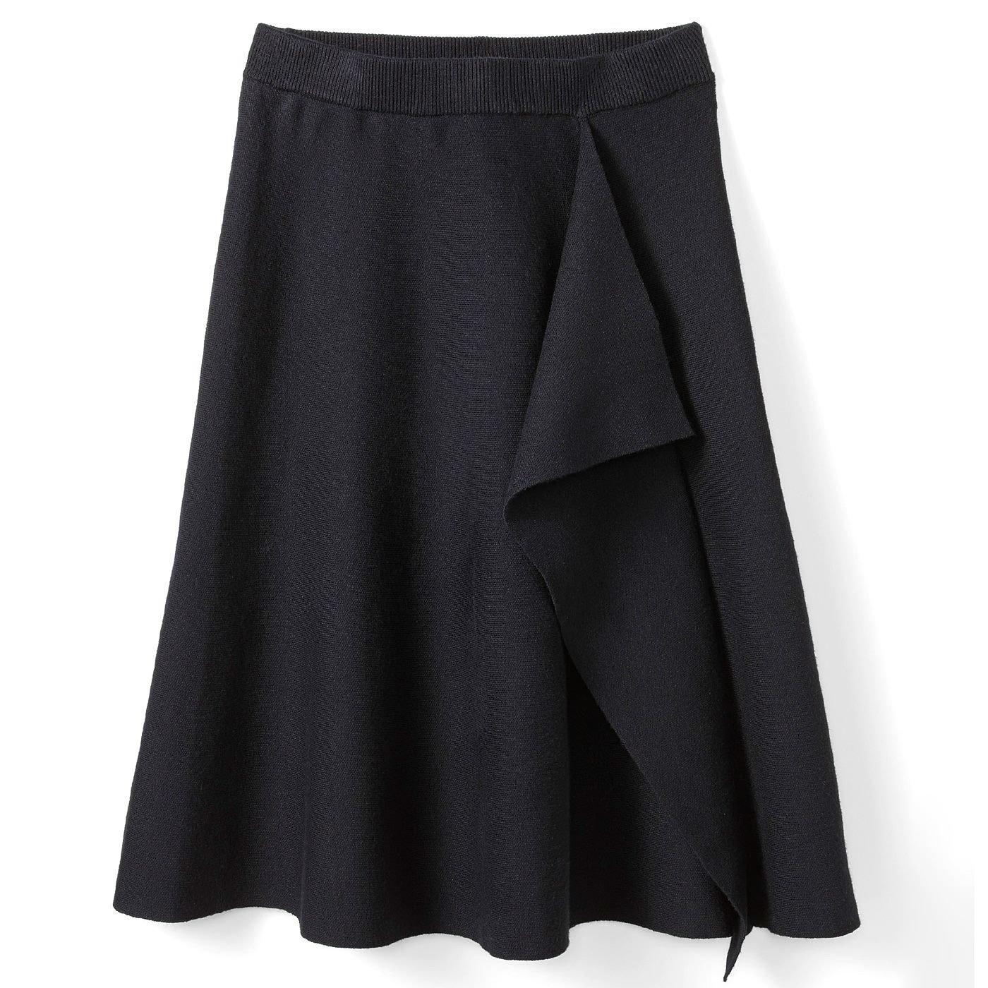 IEDIT[イディット] ラッフルデザインのニットスカート〈ブラック〉