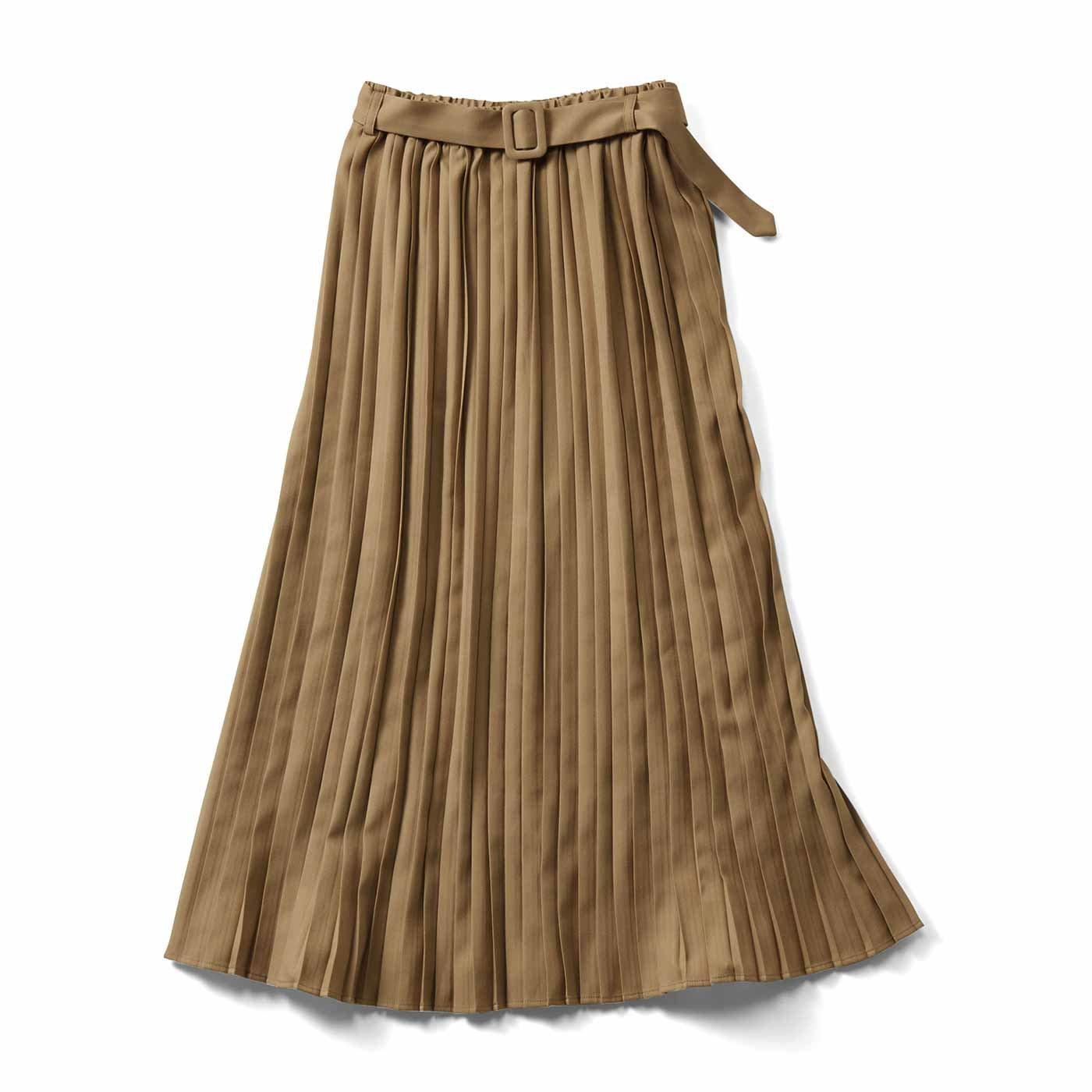 IEDIT[イディット] ピーチ起毛素材の上品プリーツスカート〈ベージュ〉