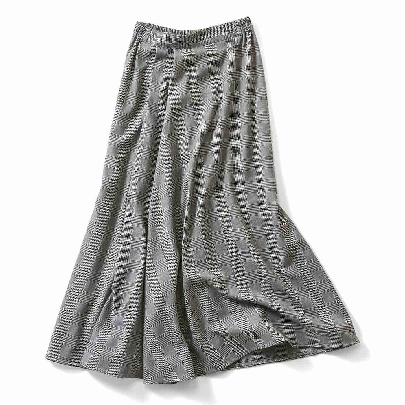 IEDIT[イディット] タックデザインのチェック柄マキシスカート〈ブラック〉