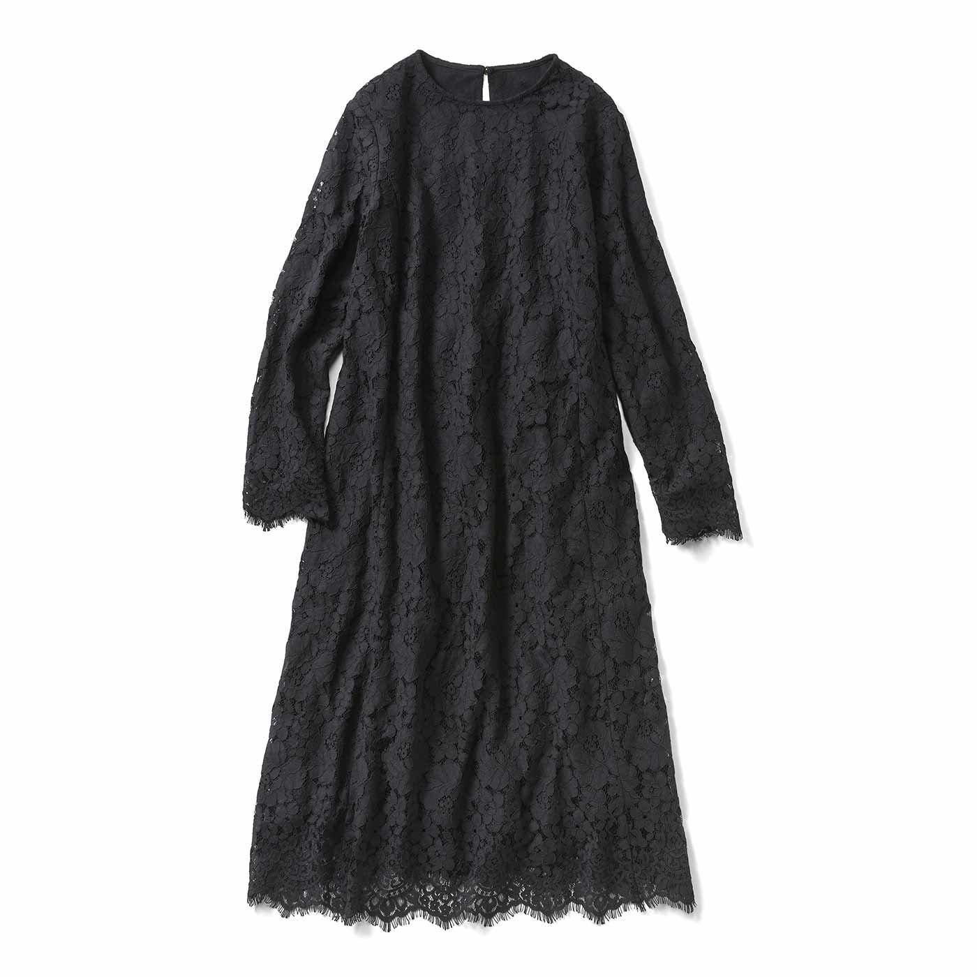 IEDIT[イディット] 裏起毛仕様のオールレースワンピース〈ブラック〉