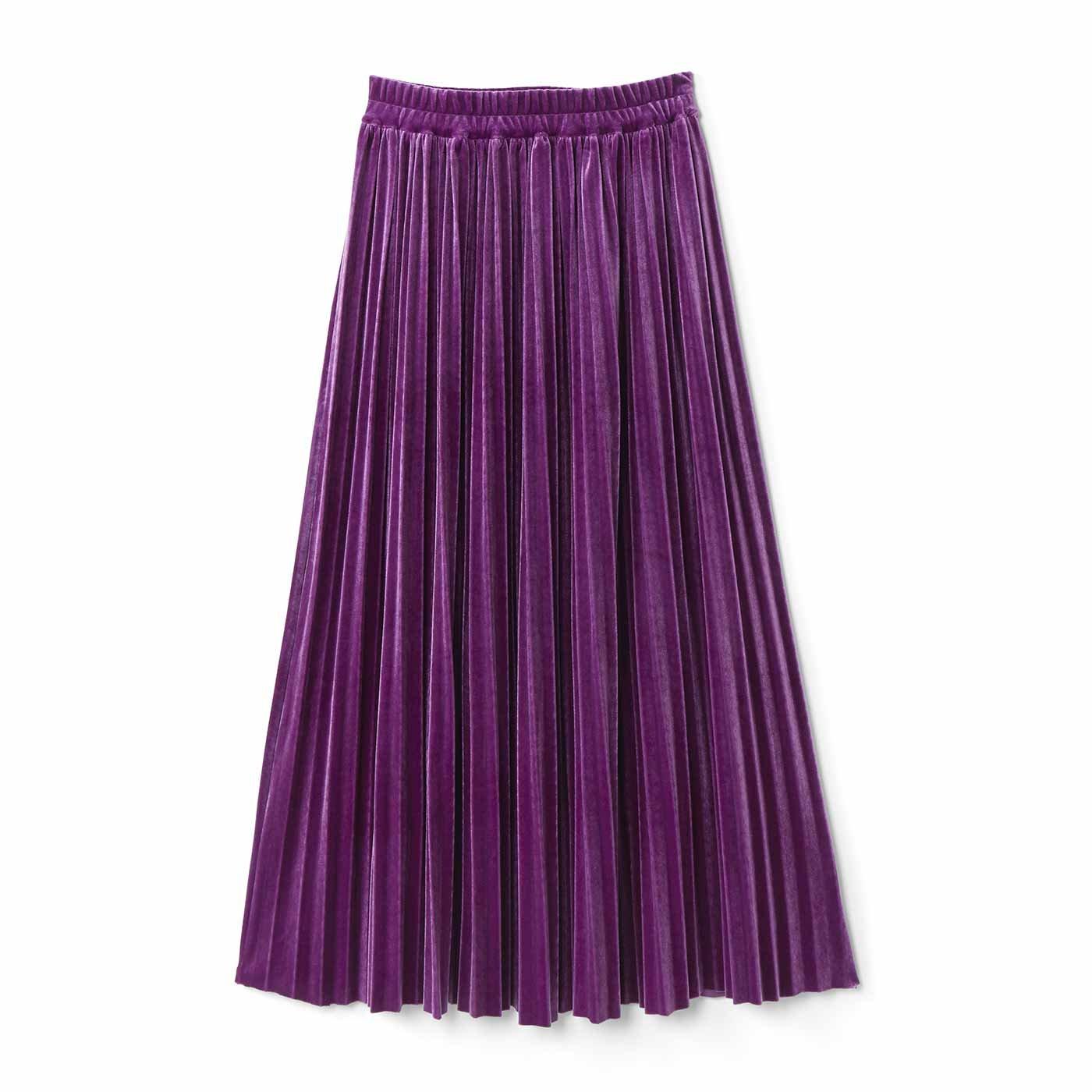 IEDIT[イディット] 上品な光沢のベロアプリーツスカート〈パープル〉
