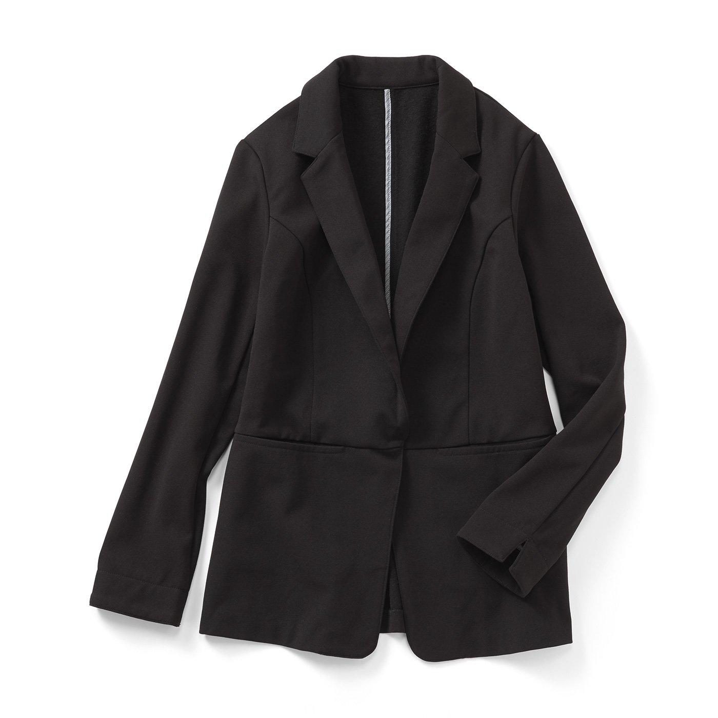 IEDIT[イディット] 帯電防止がうれしい 裏起毛ジョーゼット素材であったかきれいなバレエフィット(R)ジャケット〈ブラック〉