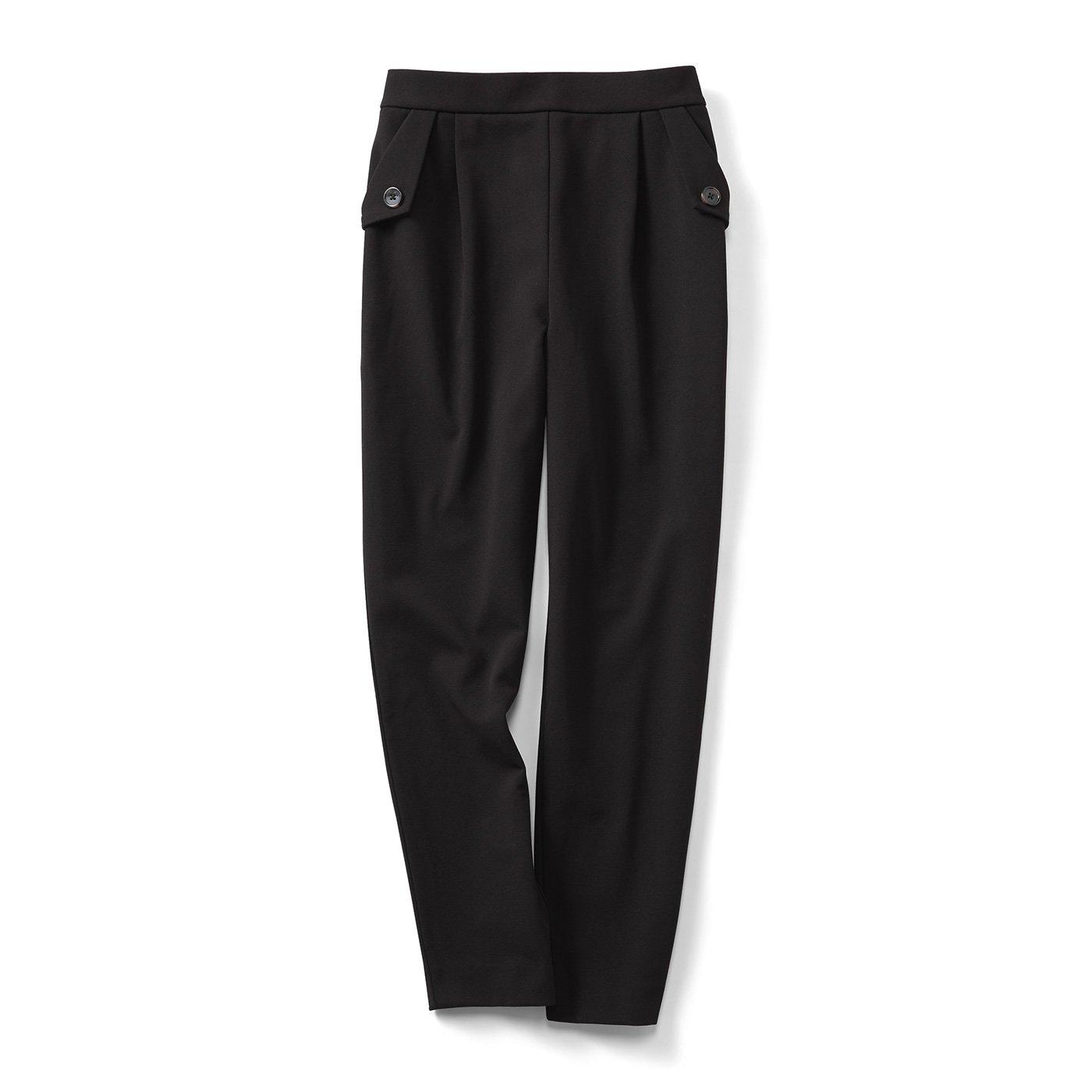 IEDIT[イディット] 帯電防止がうれしい 裏起毛ジョーゼット素材であったかきれいなバレエフィット(R)パンツ〈ブラック〉