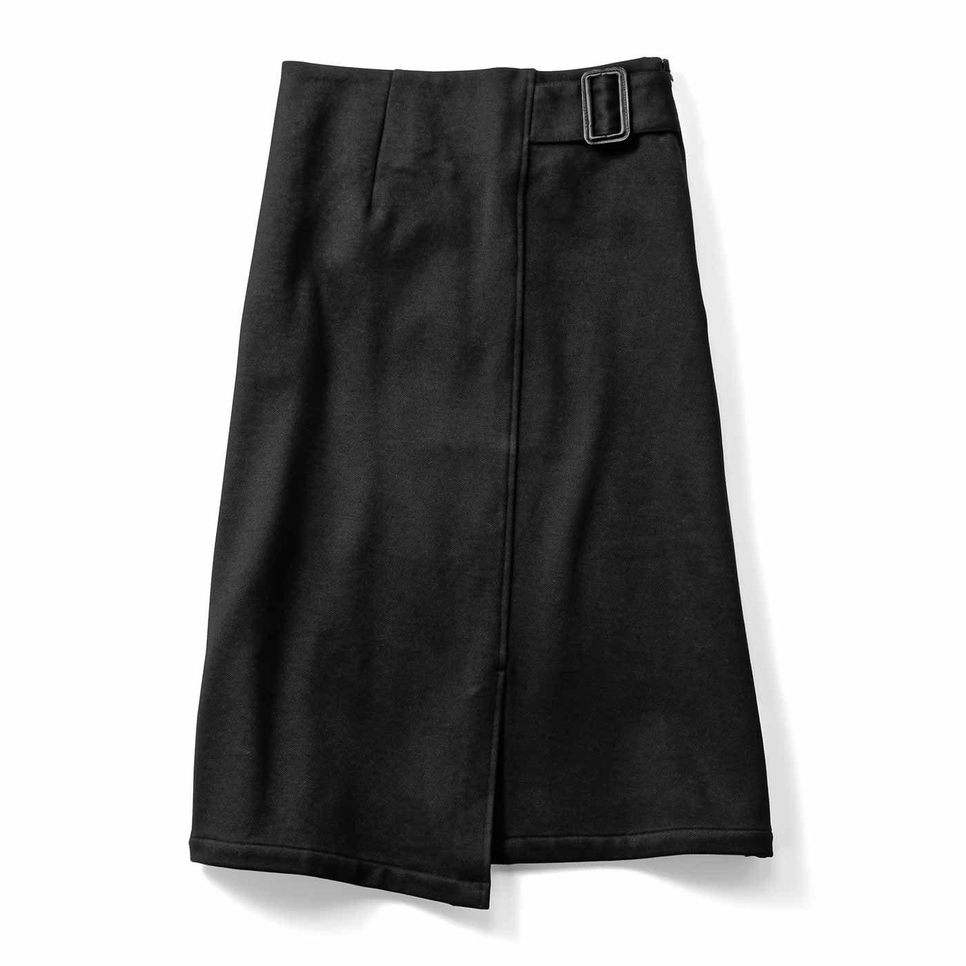 IEDIT[イディット] 裏起毛であったか 伸びやかな着心地のストレッチスカート〈ブラック〉